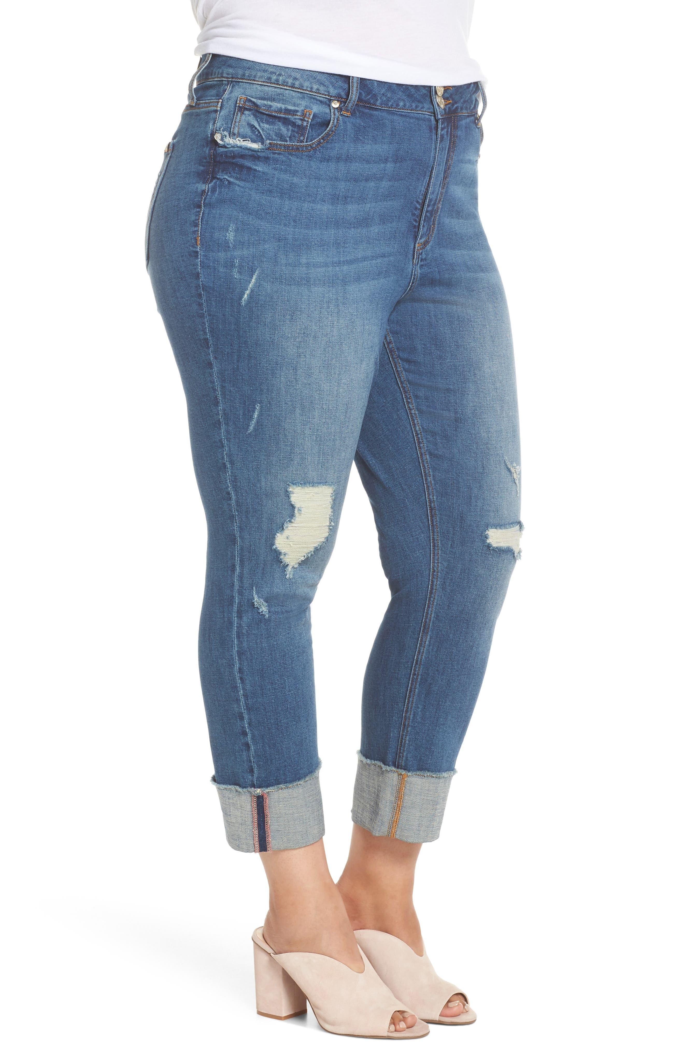 Distressed Slim Raw Hem Cuffed Jeans,                             Alternate thumbnail 3, color,                             Blue