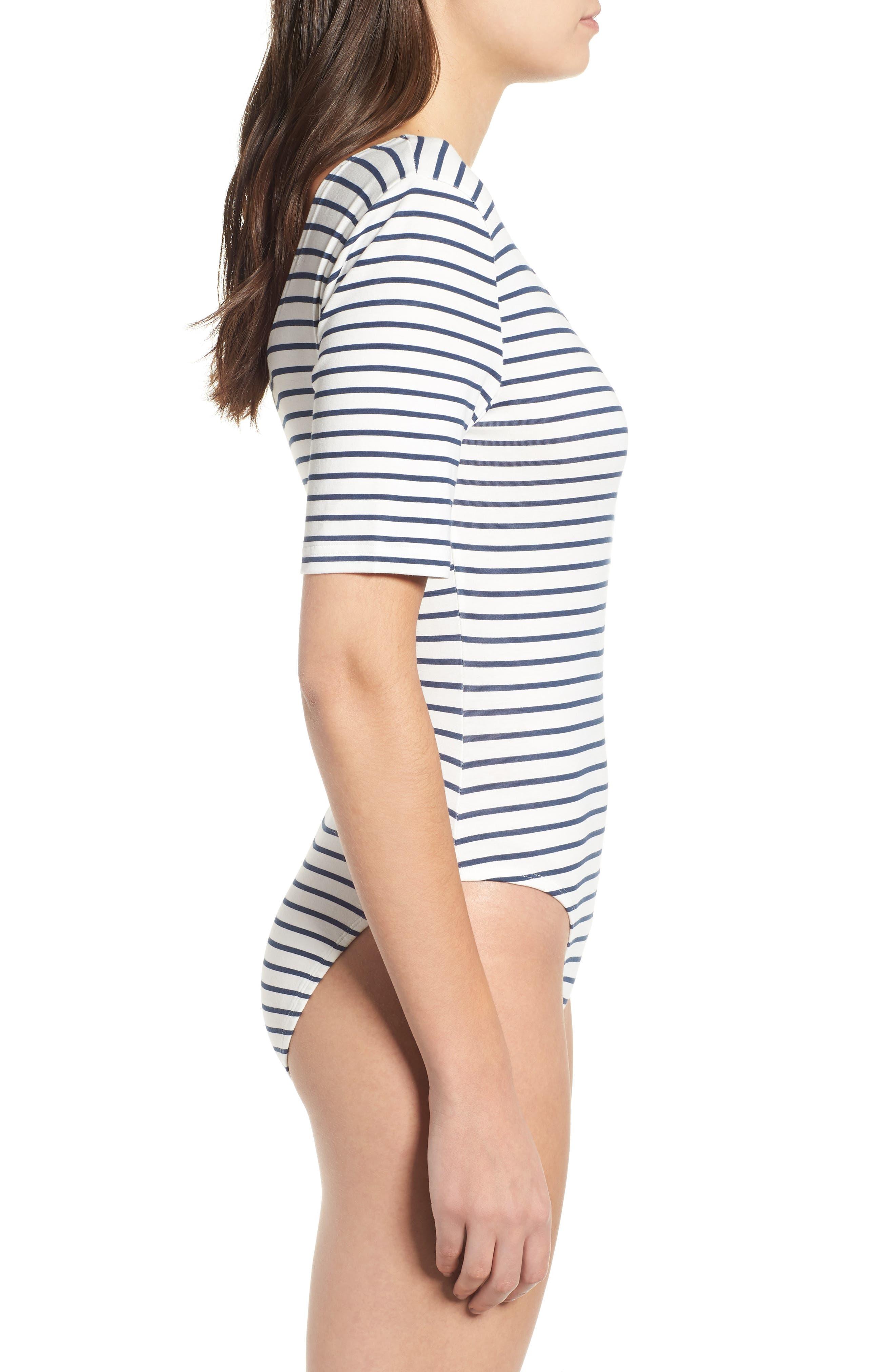 Stripe Square Neck Bodysuit,                             Alternate thumbnail 4, color,                             White / Navy Stripe