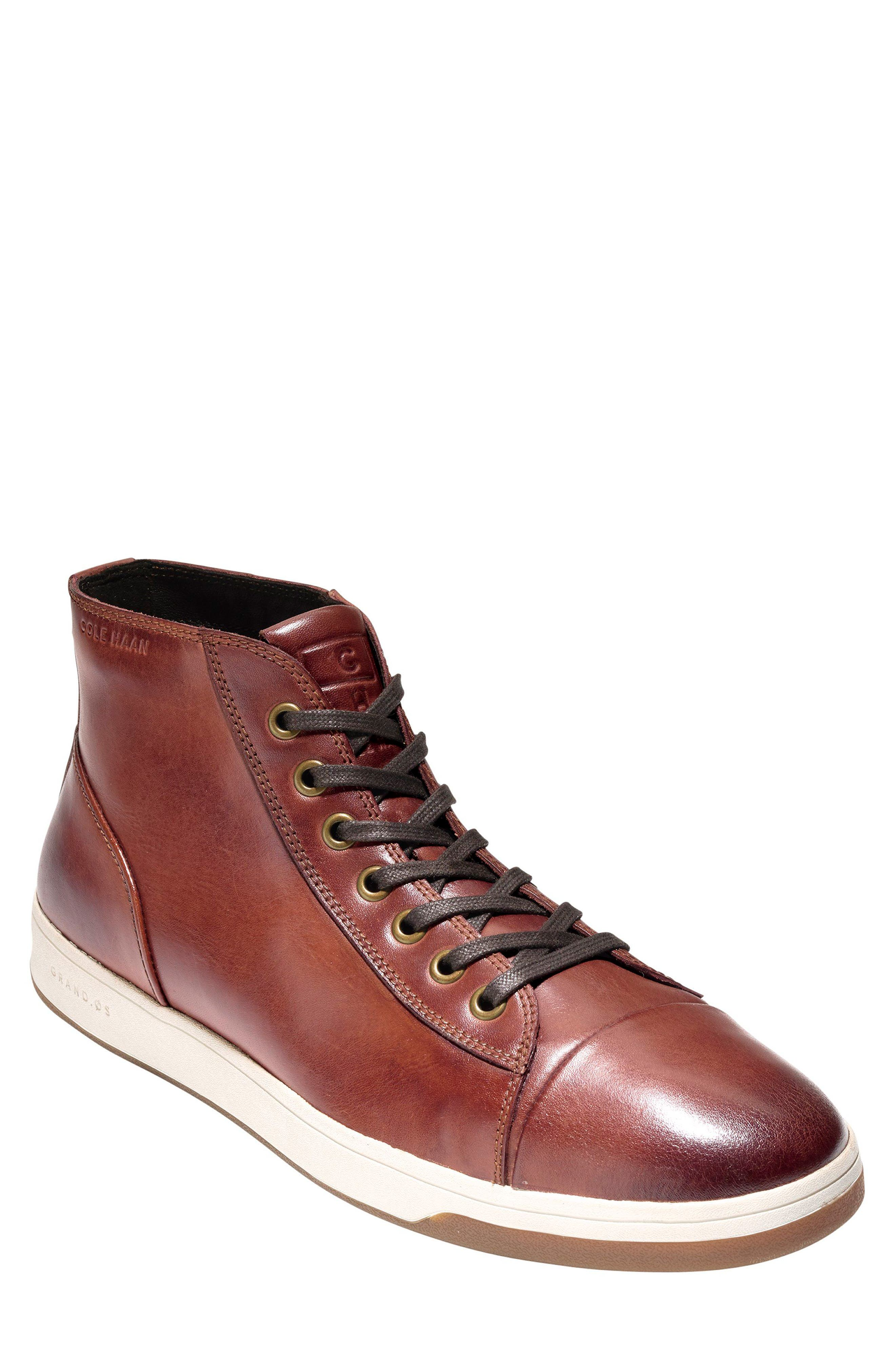 GrandPro High Top Sneaker,                             Main thumbnail 1, color,                             Woodbury Leather