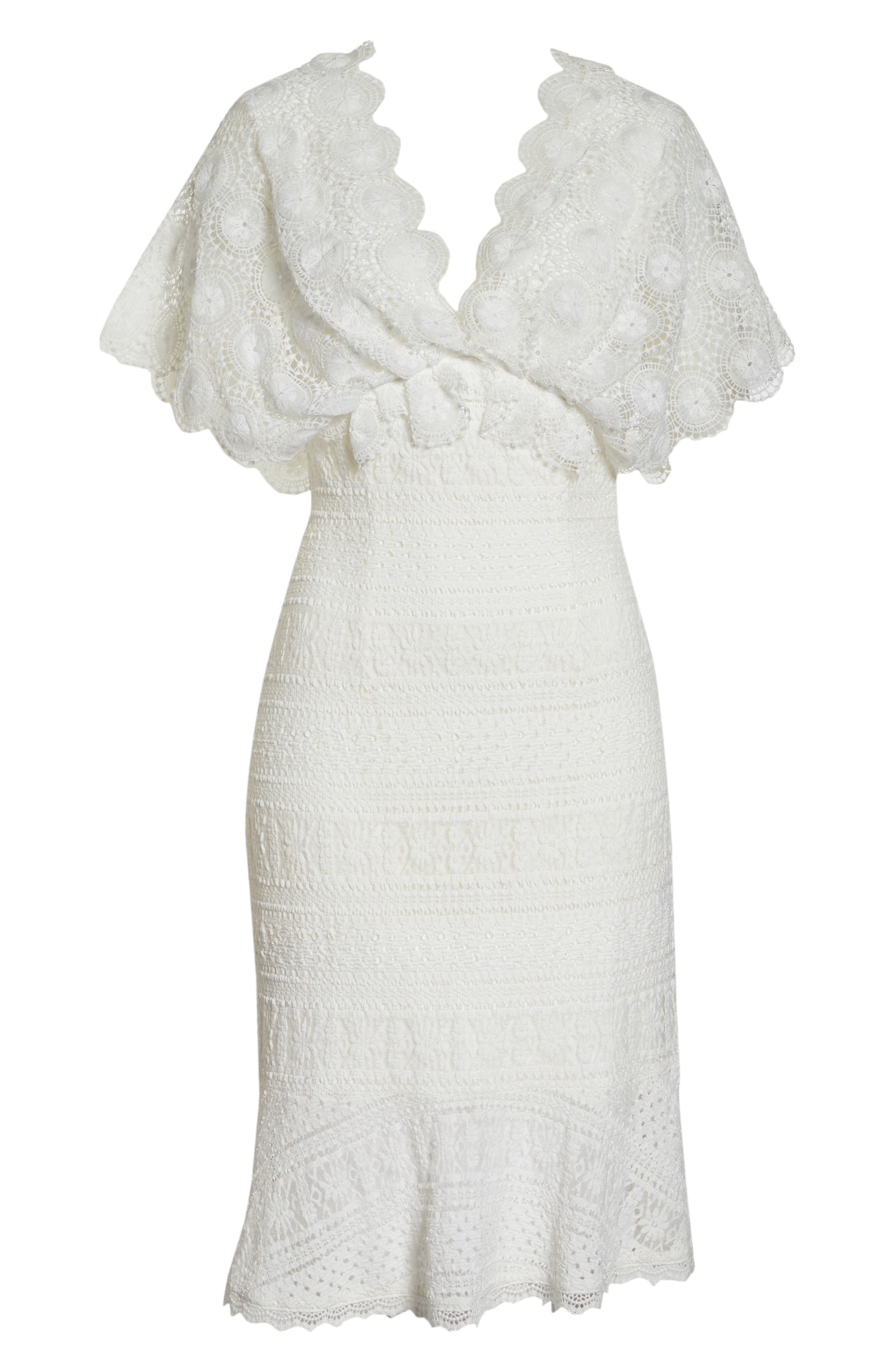Mavis Scalloped Lace Dress,                             Alternate thumbnail 7, color,                             Off White