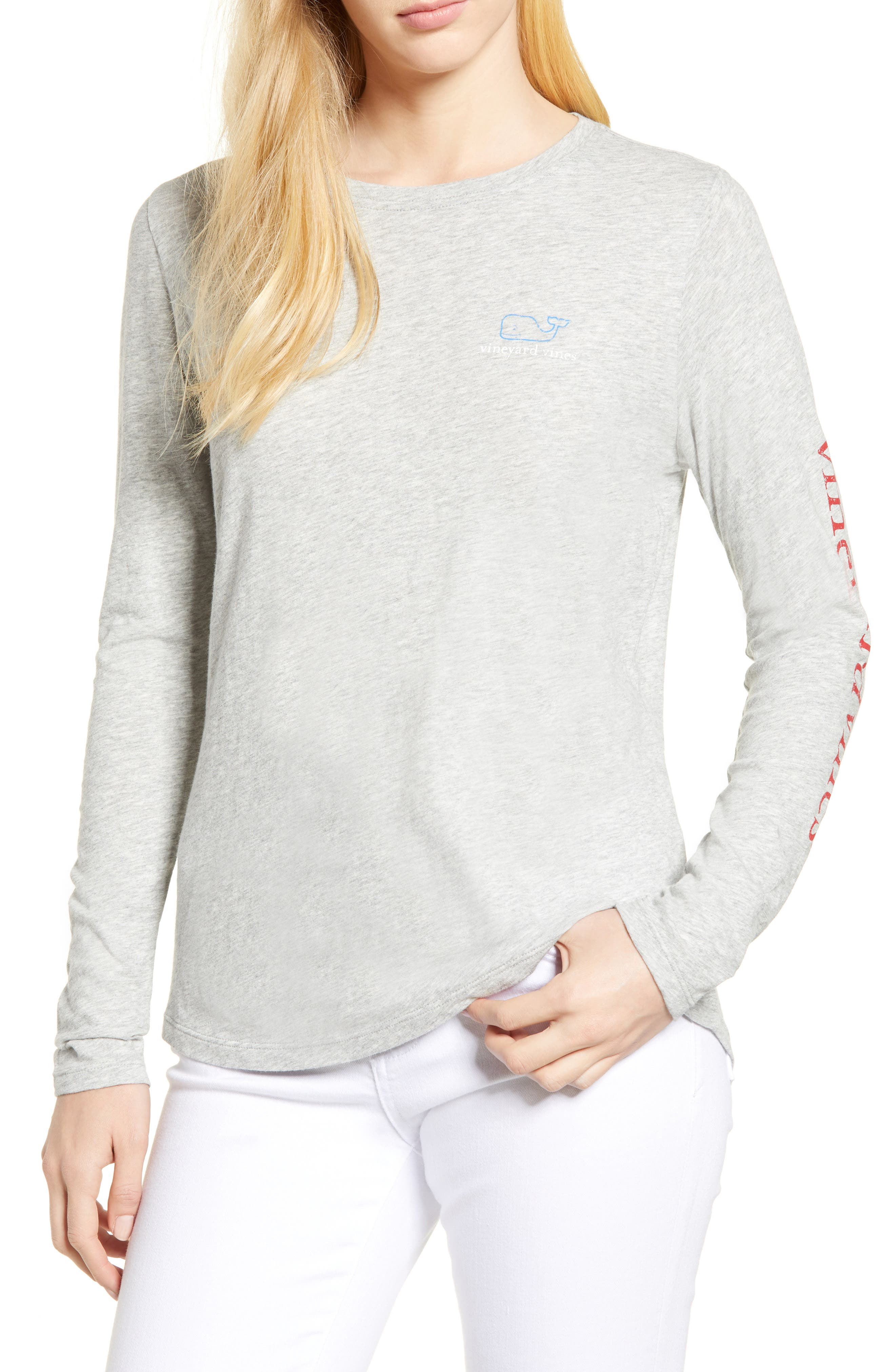 Long Sleeve Vintage Whale Tee,                         Main,                         color, Gray Heather