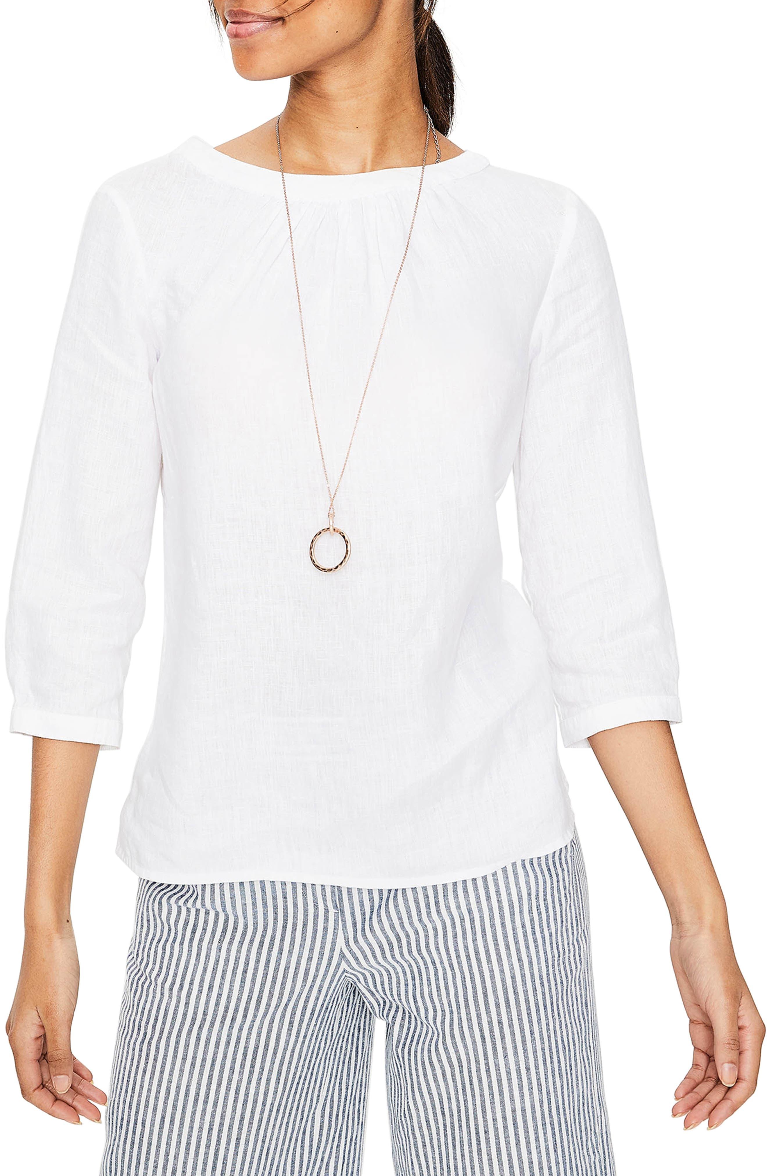 Katie Striped Linen Peasant Top,                         Main,                         color, White