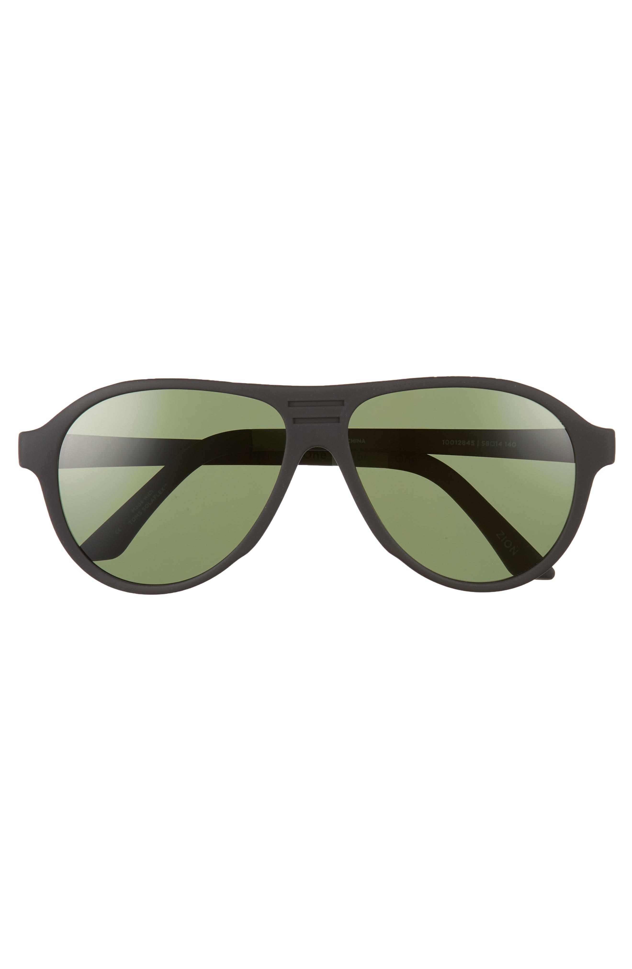 Traveler Zion 58mm Polarized Aviator Sunglasses,                             Alternate thumbnail 2, color,                             Matte Black/ Bottle Green