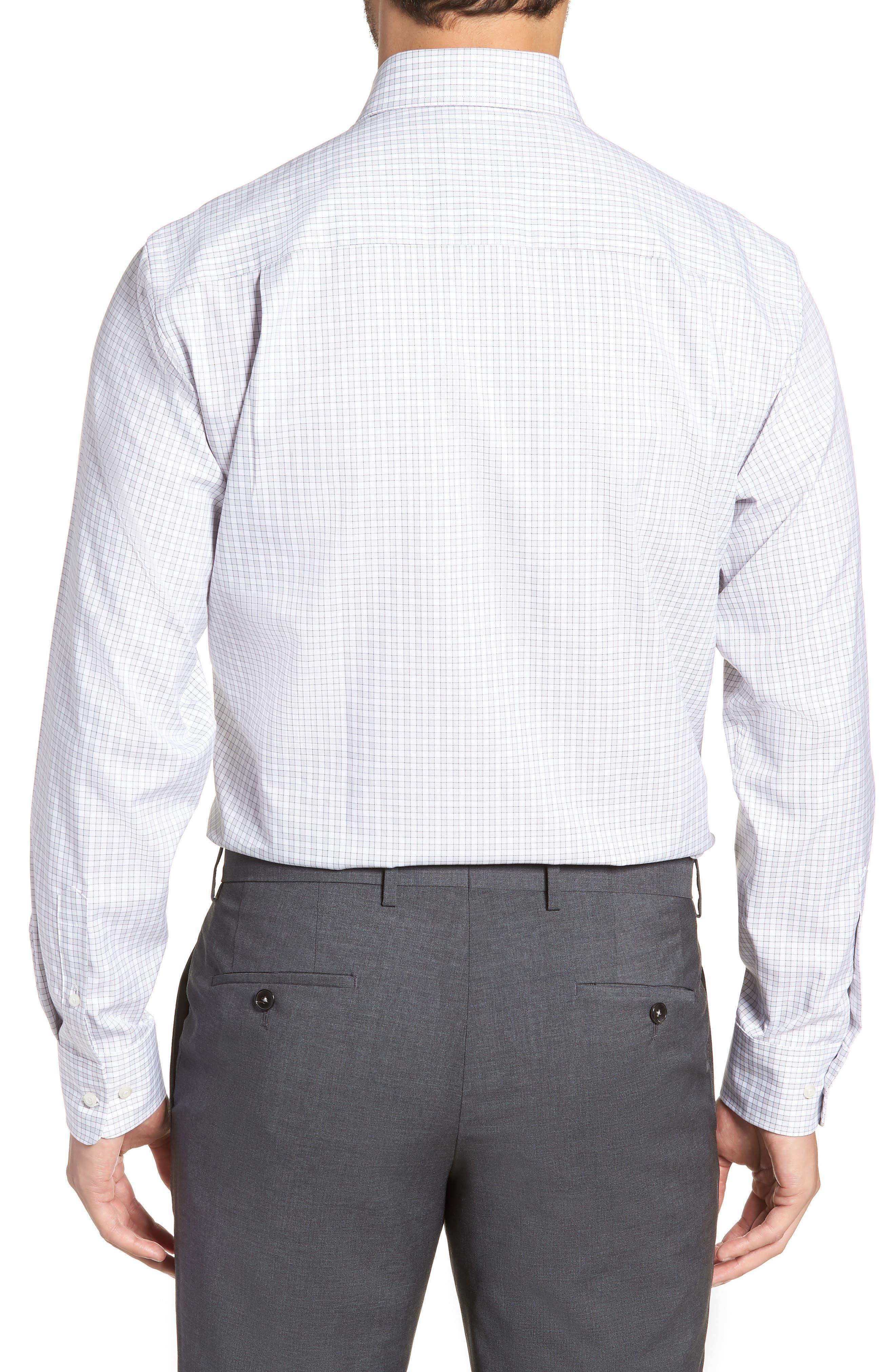 Regular Fit Check Dress Shirt,                             Alternate thumbnail 3, color,                             Gray