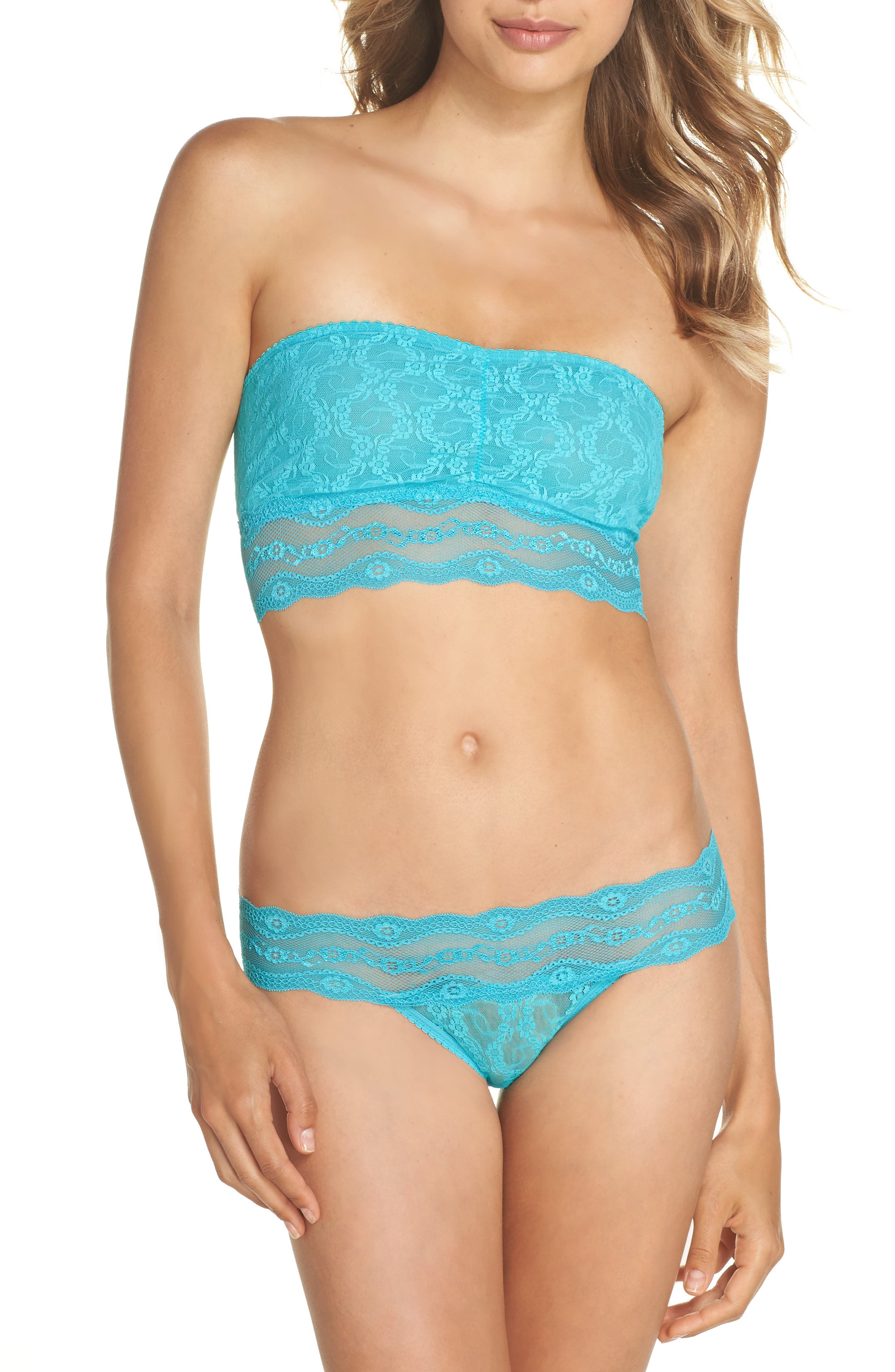 'Lace Kiss' Bikini,                             Alternate thumbnail 4, color,                             Peacock Blue