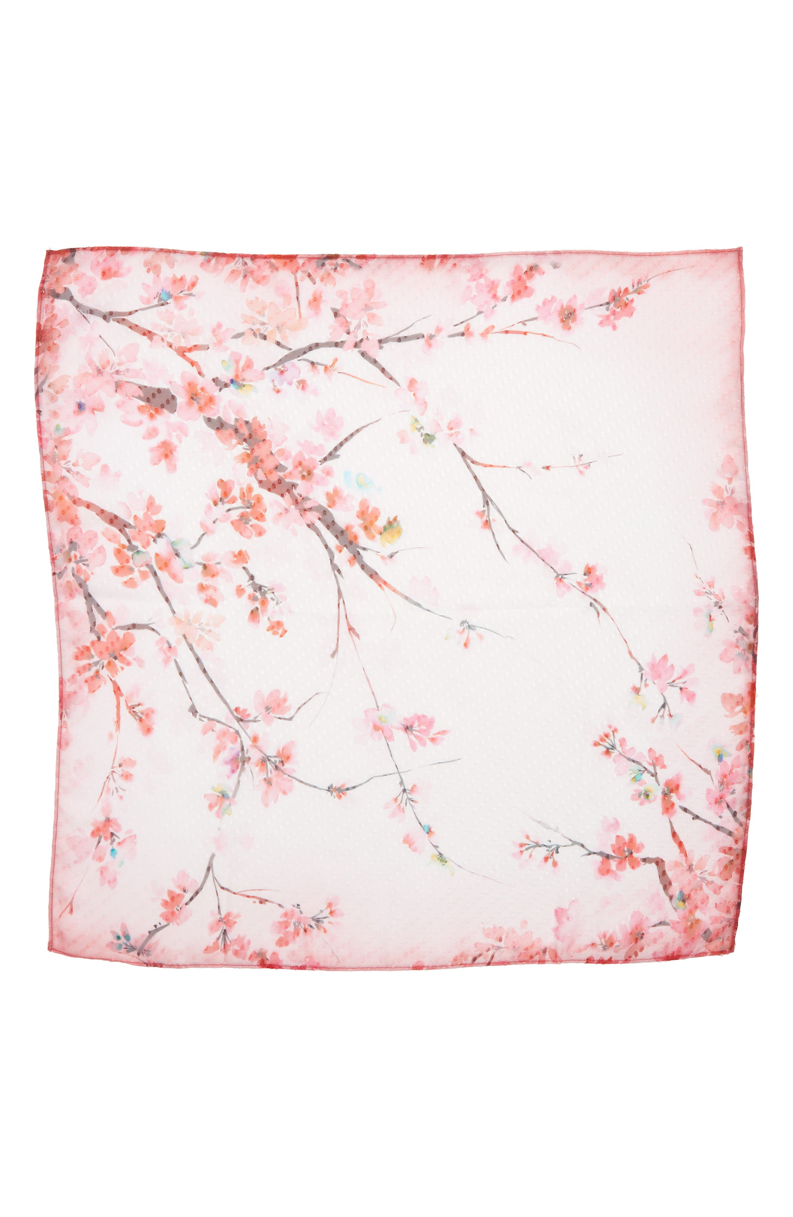 Jacquard Dot Silk Blend Scarf,                             Alternate thumbnail 3, color,                             Pink Enlightened Branches