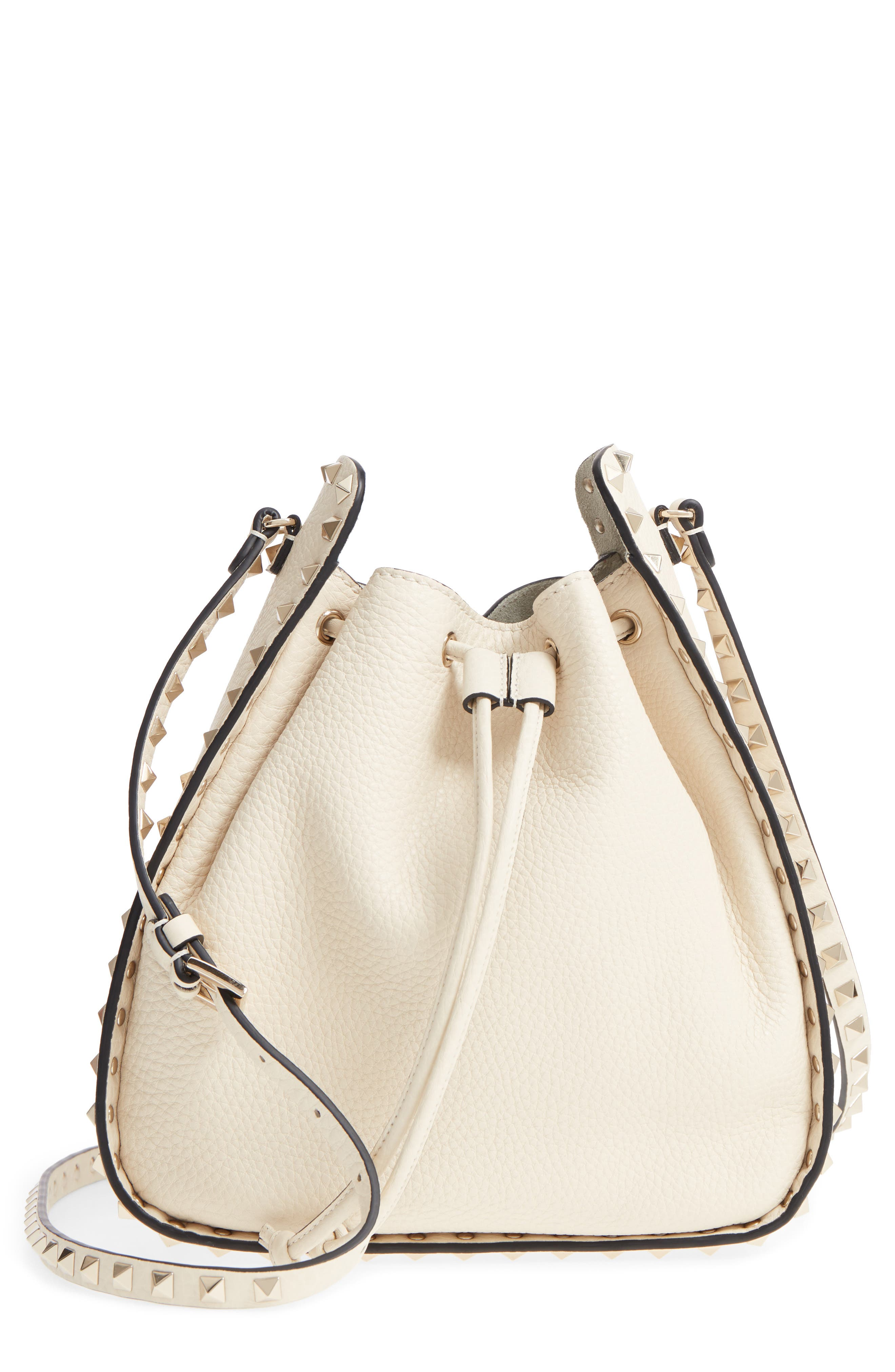 Large Rockstud Leather Bucket Bag,                             Main thumbnail 1, color,                             Ivory/ Gold