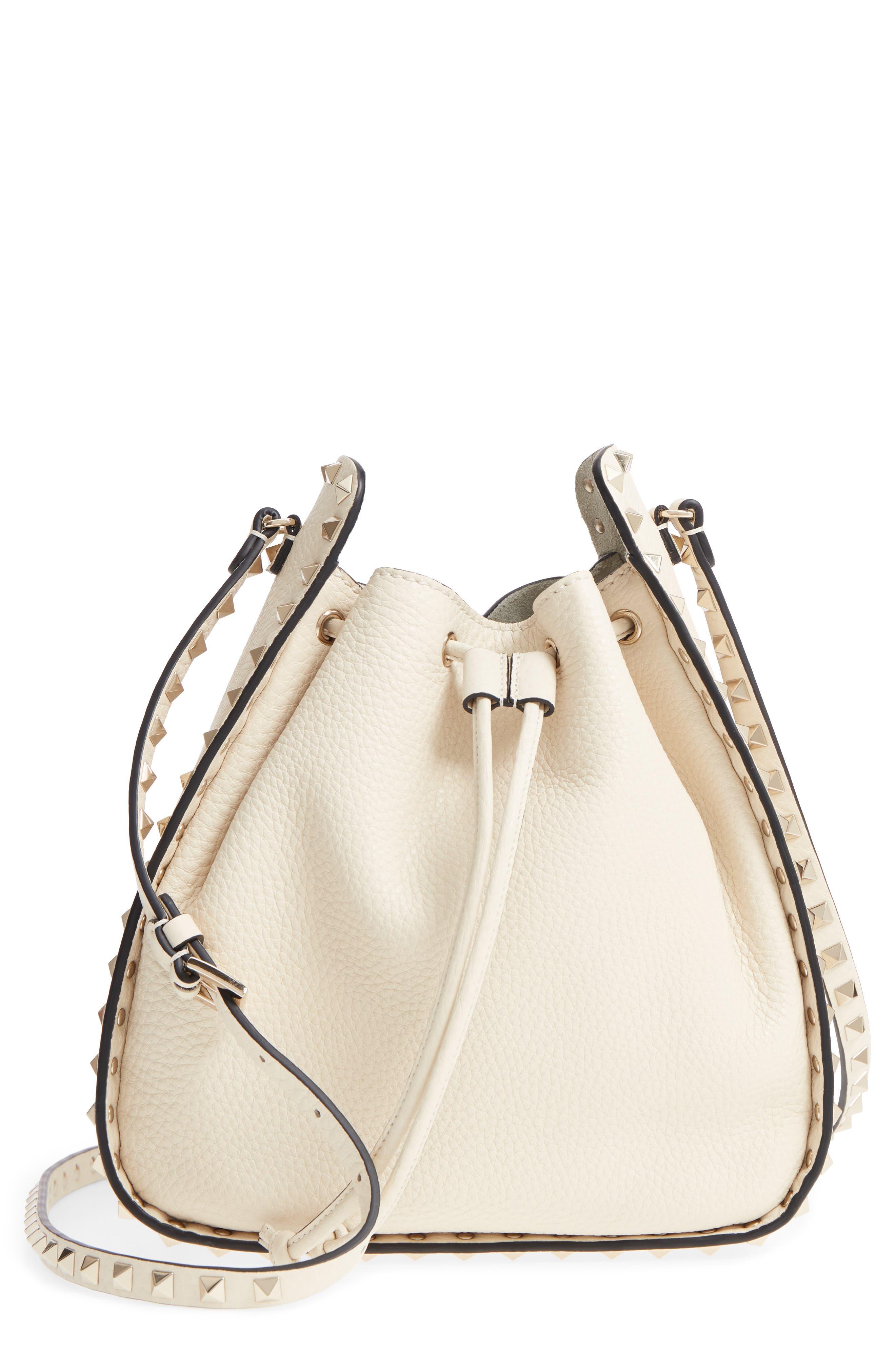Large Rockstud Leather Bucket Bag,                         Main,                         color, Ivory/ Gold