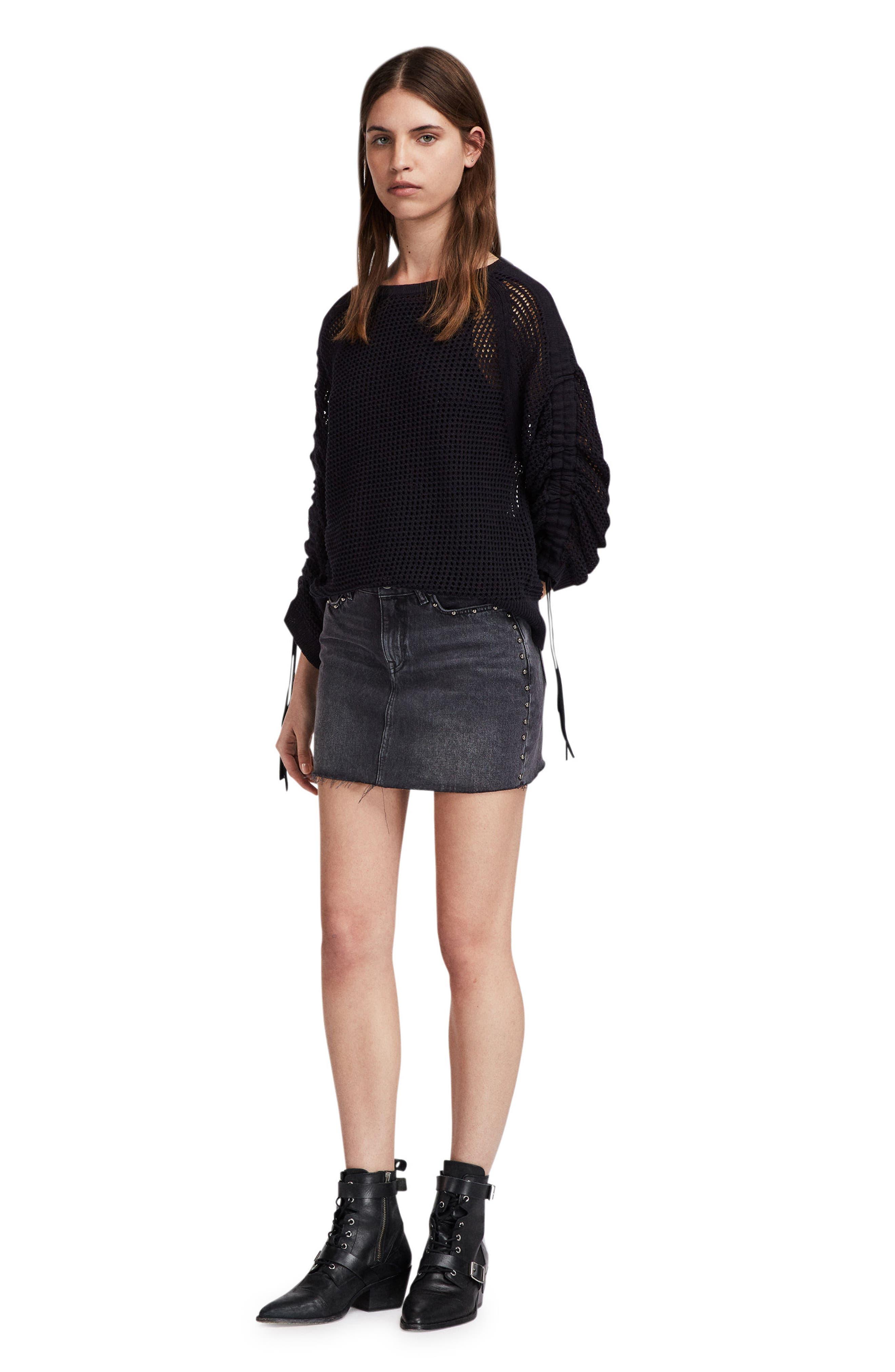 Studded Denim Skirt,                             Alternate thumbnail 4, color,                             Washed Black