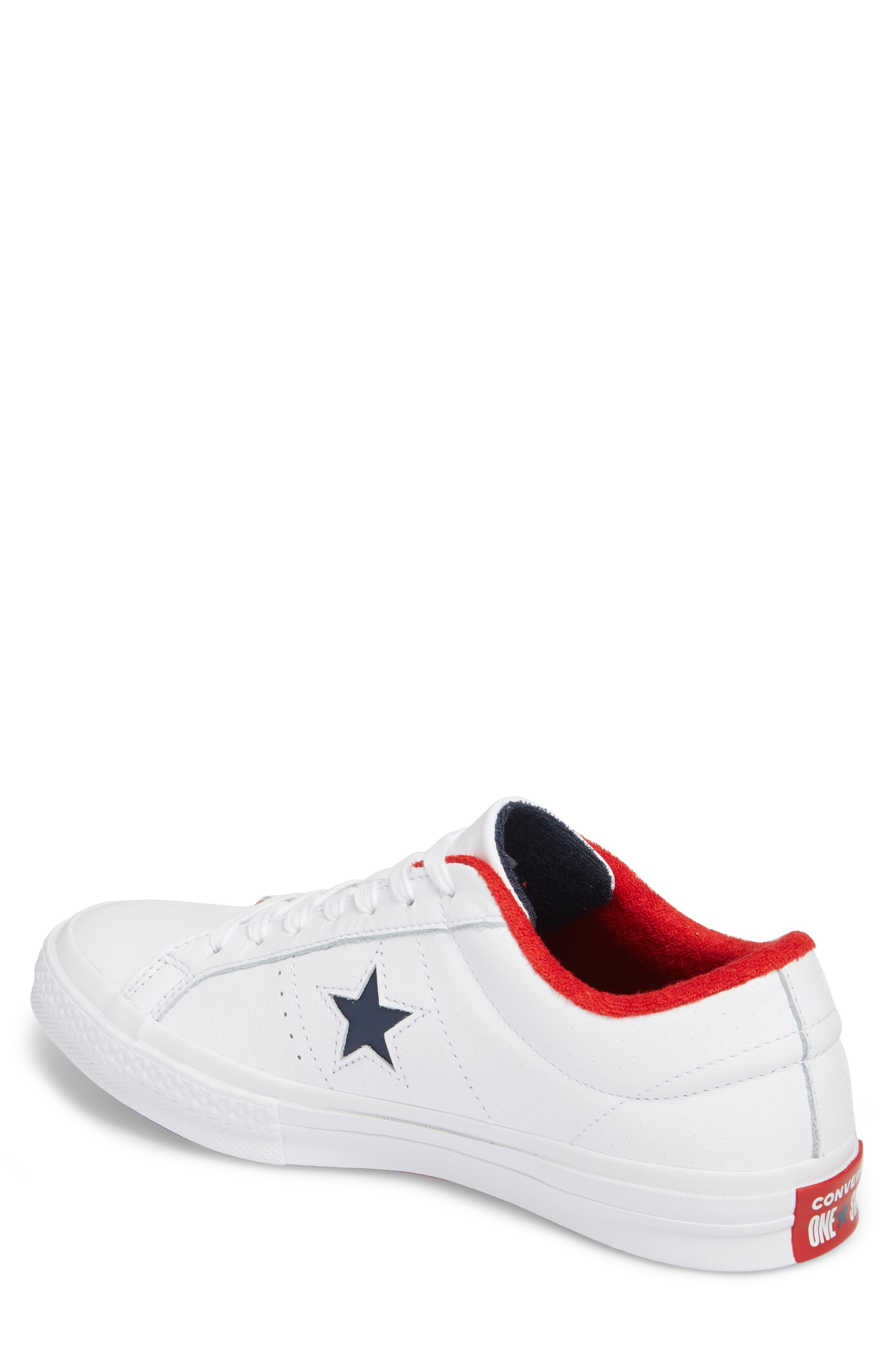 Chuck Taylor<sup>®</sup> One Star Grand Slam Sneaker,                             Alternate thumbnail 2, color,                             White/ Navy Leather