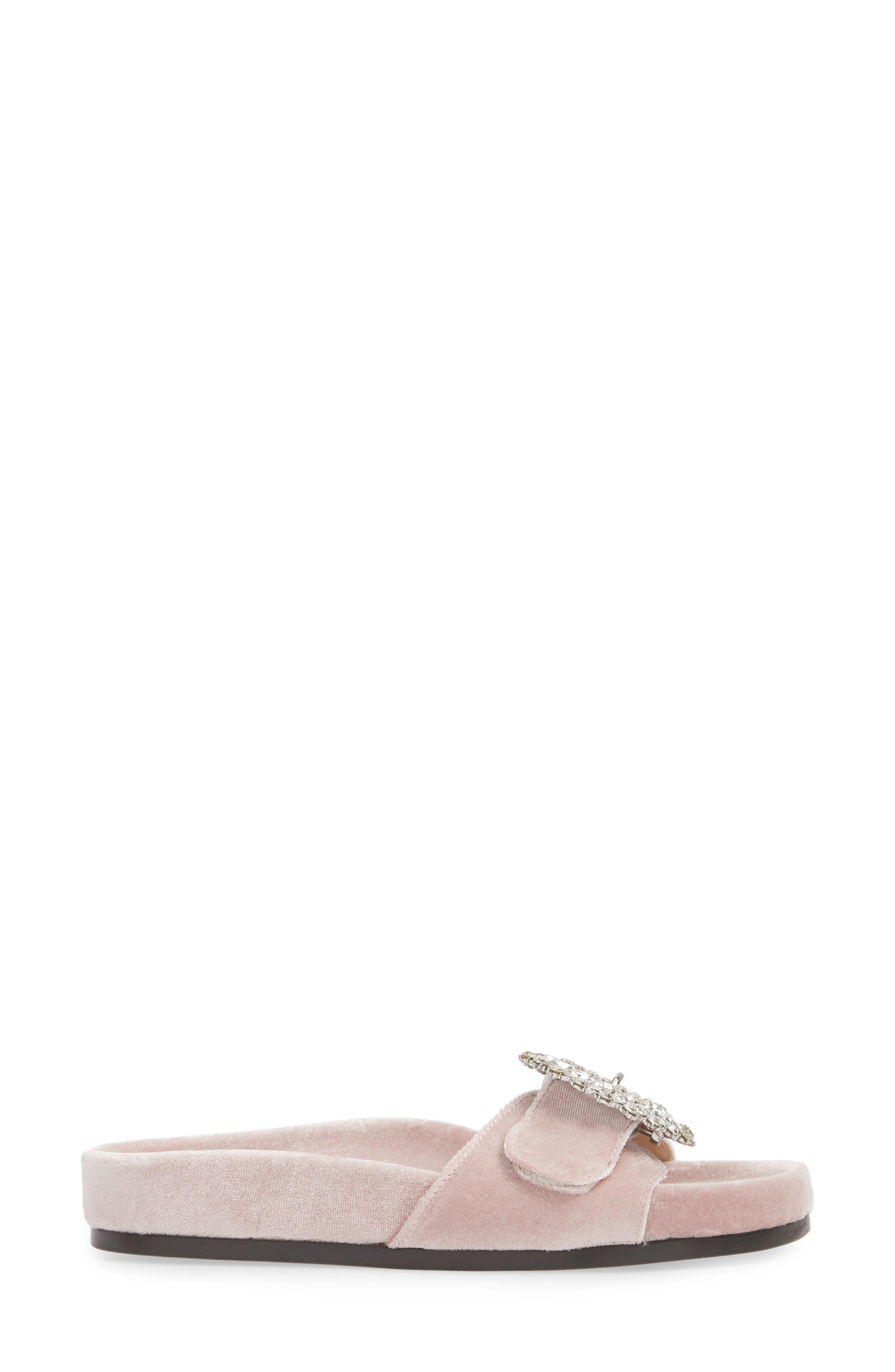 Upolu Embellished Slide Sandal,                             Alternate thumbnail 3, color,                             Blush Velvet/ Silver