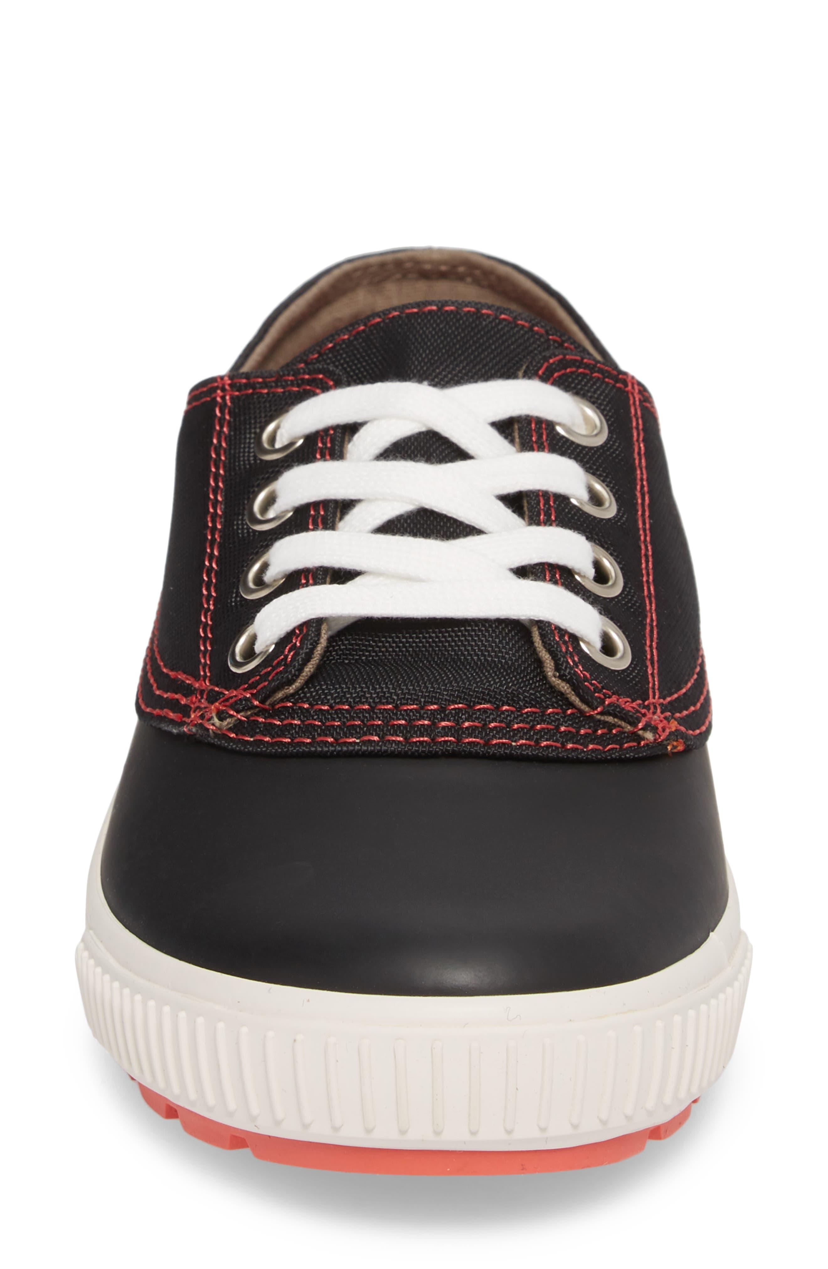 Dash Duck Sneaker,                             Alternate thumbnail 4, color,                             Black/ Coral