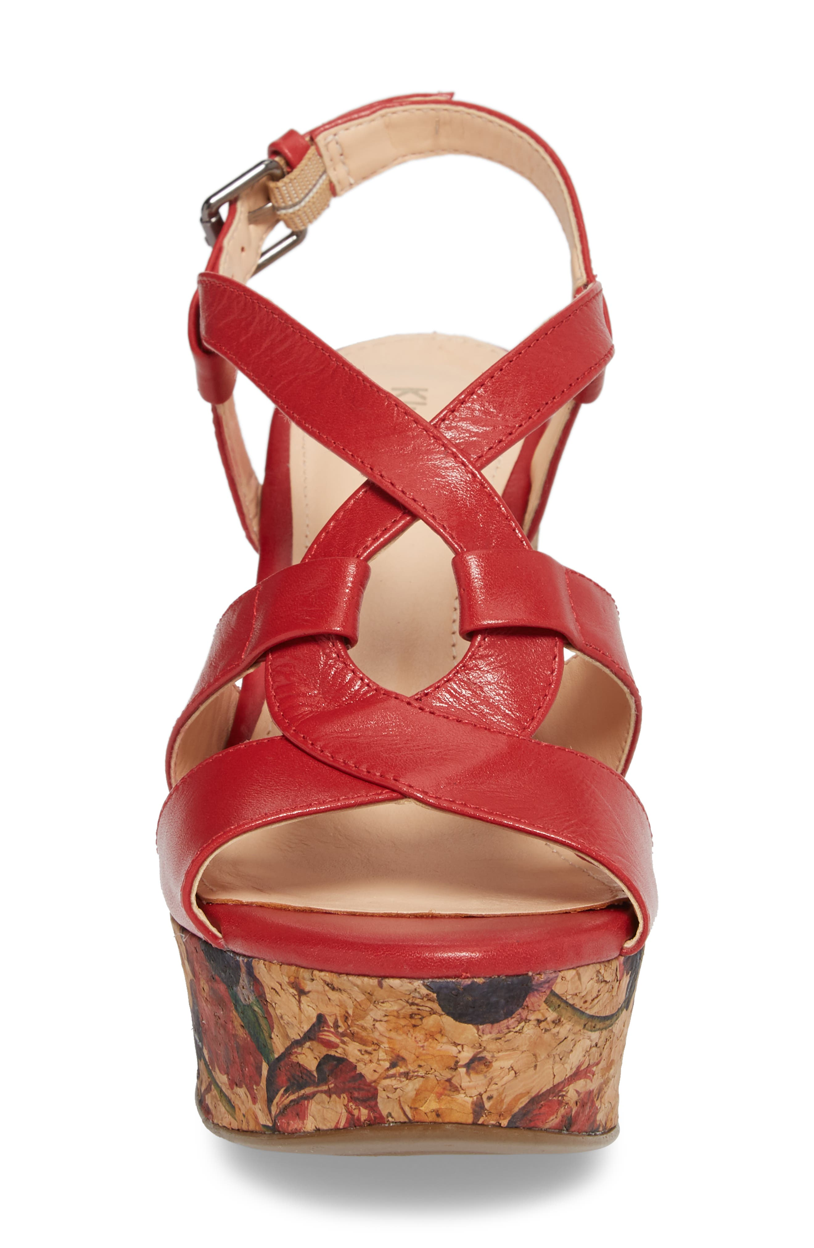 Victoria Platform Sandal,                             Alternate thumbnail 4, color,                             Red Leather