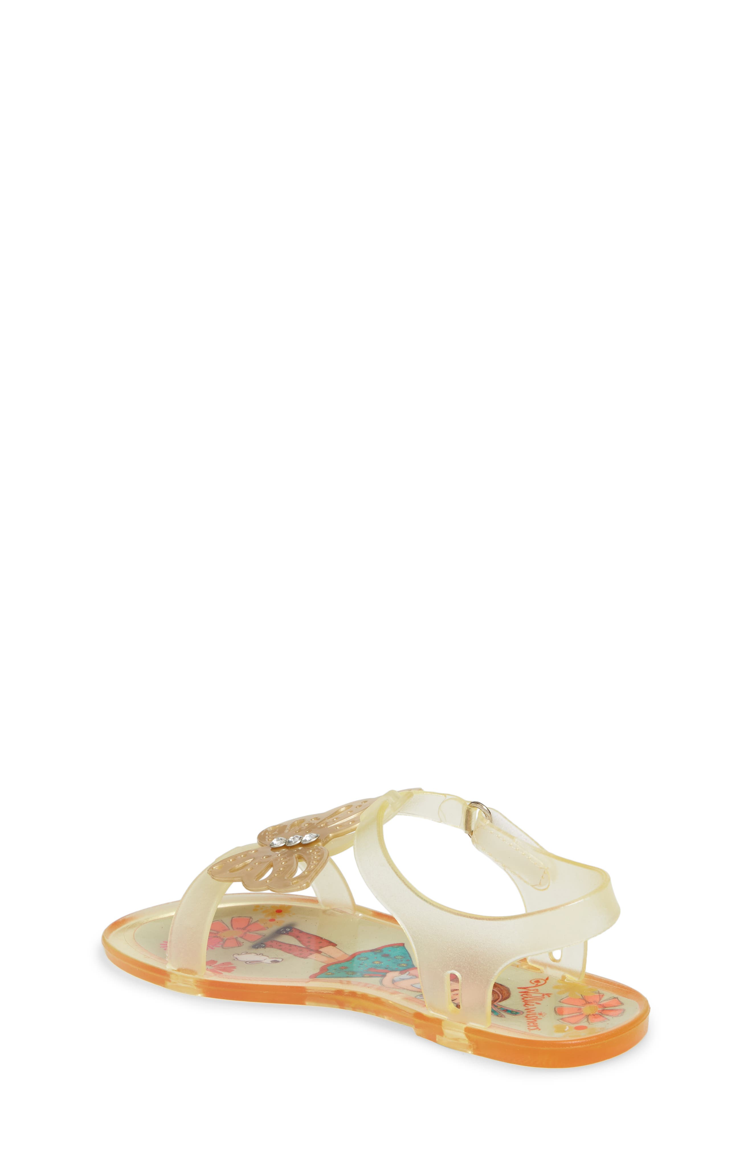 Willa Butterfly Jelly Sandal,                             Alternate thumbnail 2, color,                             Gold