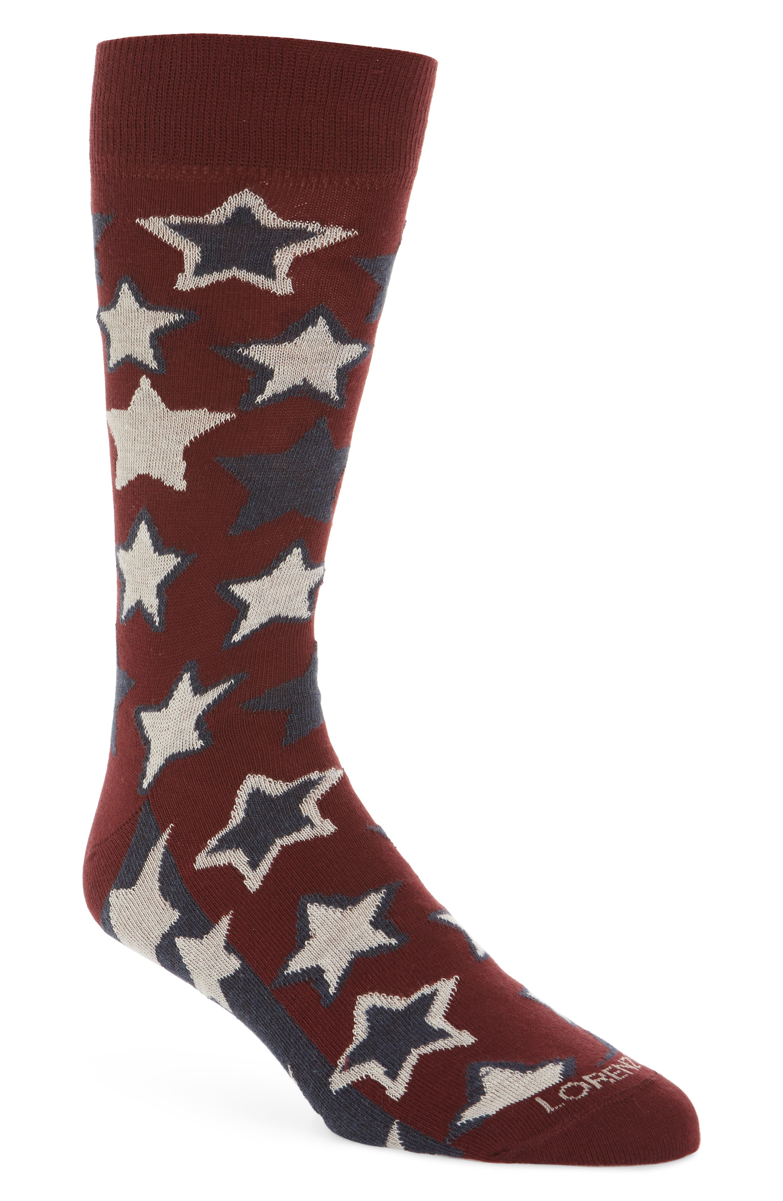Red Stars Crew Socks,                             Main thumbnail 1, color,                             Fire Red