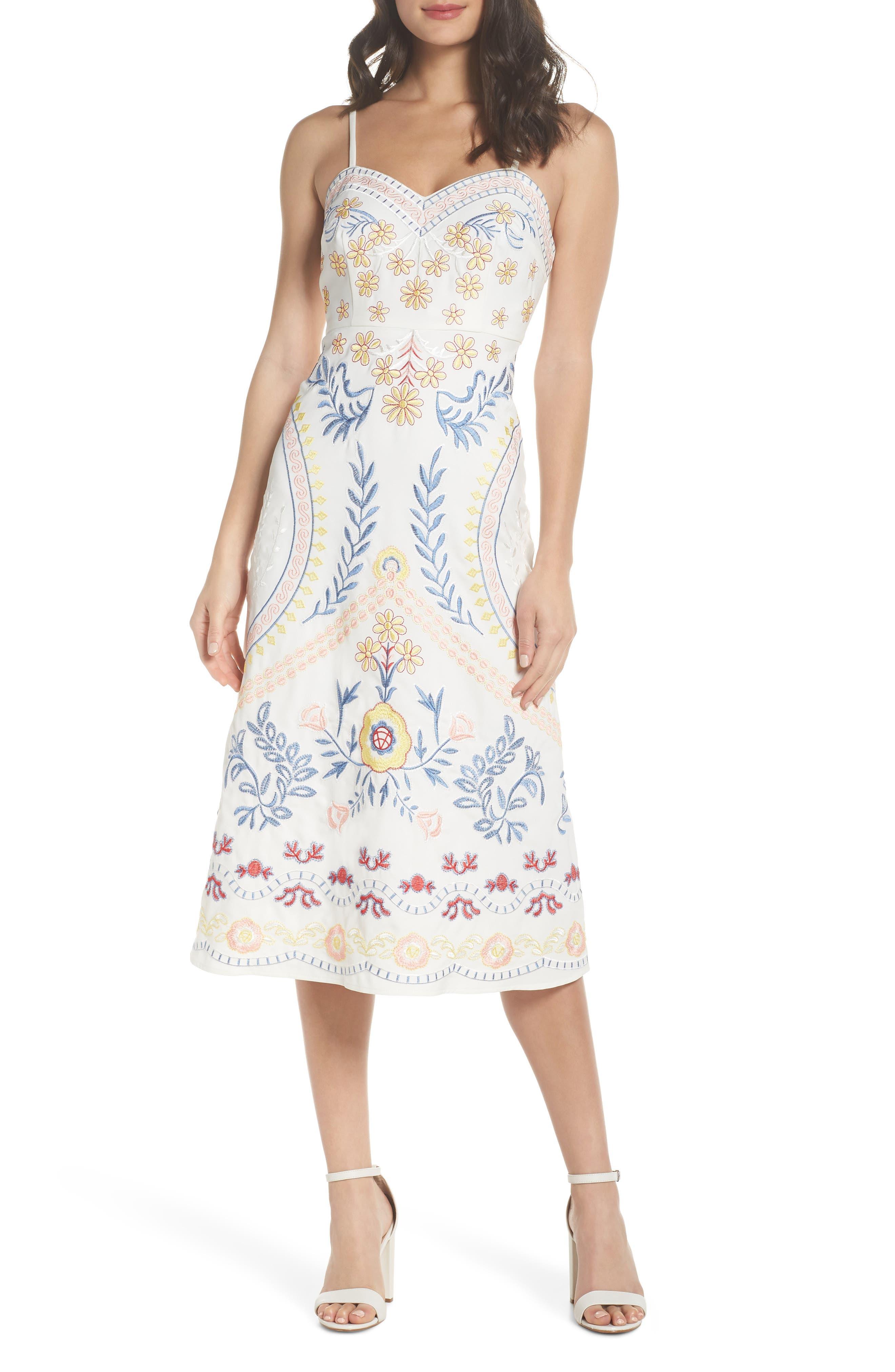 Artemisia Tea Length Dress,                             Main thumbnail 1, color,                             White Multi