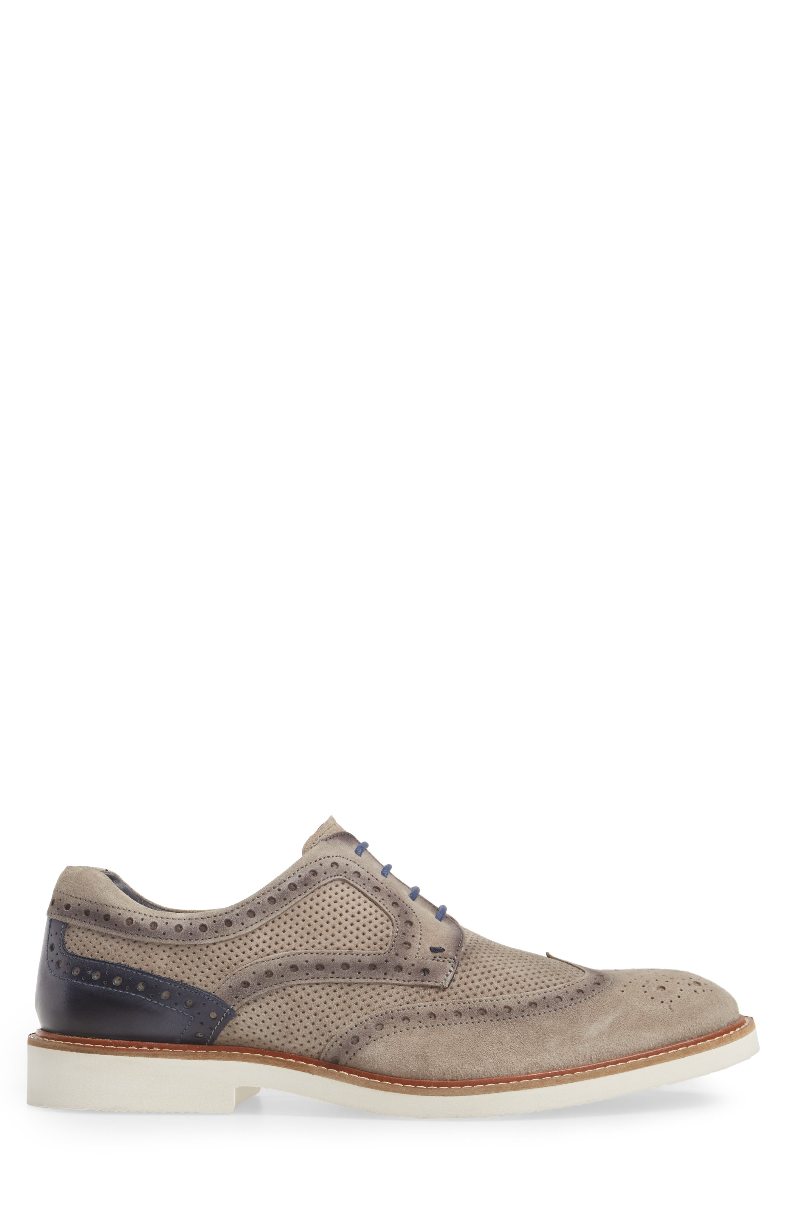 Shaw Perforated Wingtip Derby,                             Alternate thumbnail 3, color,                             Grey Suede