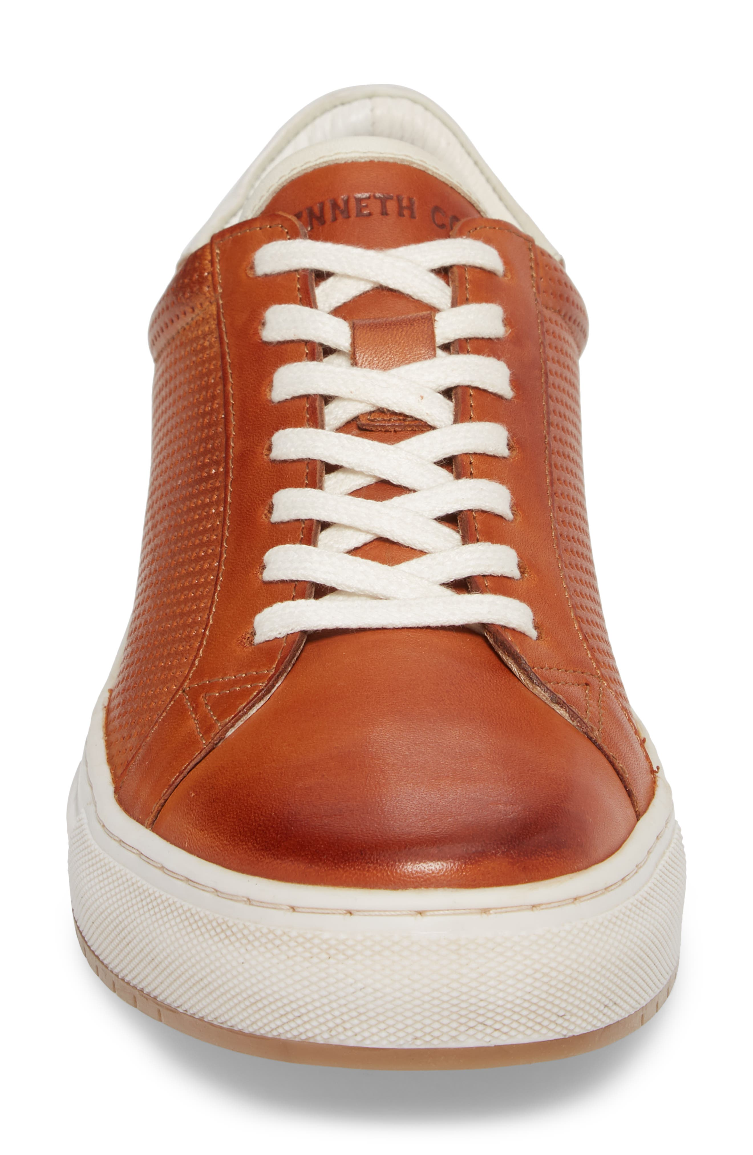 Don Embossed Lace-Up Sneaker,                             Alternate thumbnail 4, color,                             Cognac Leather