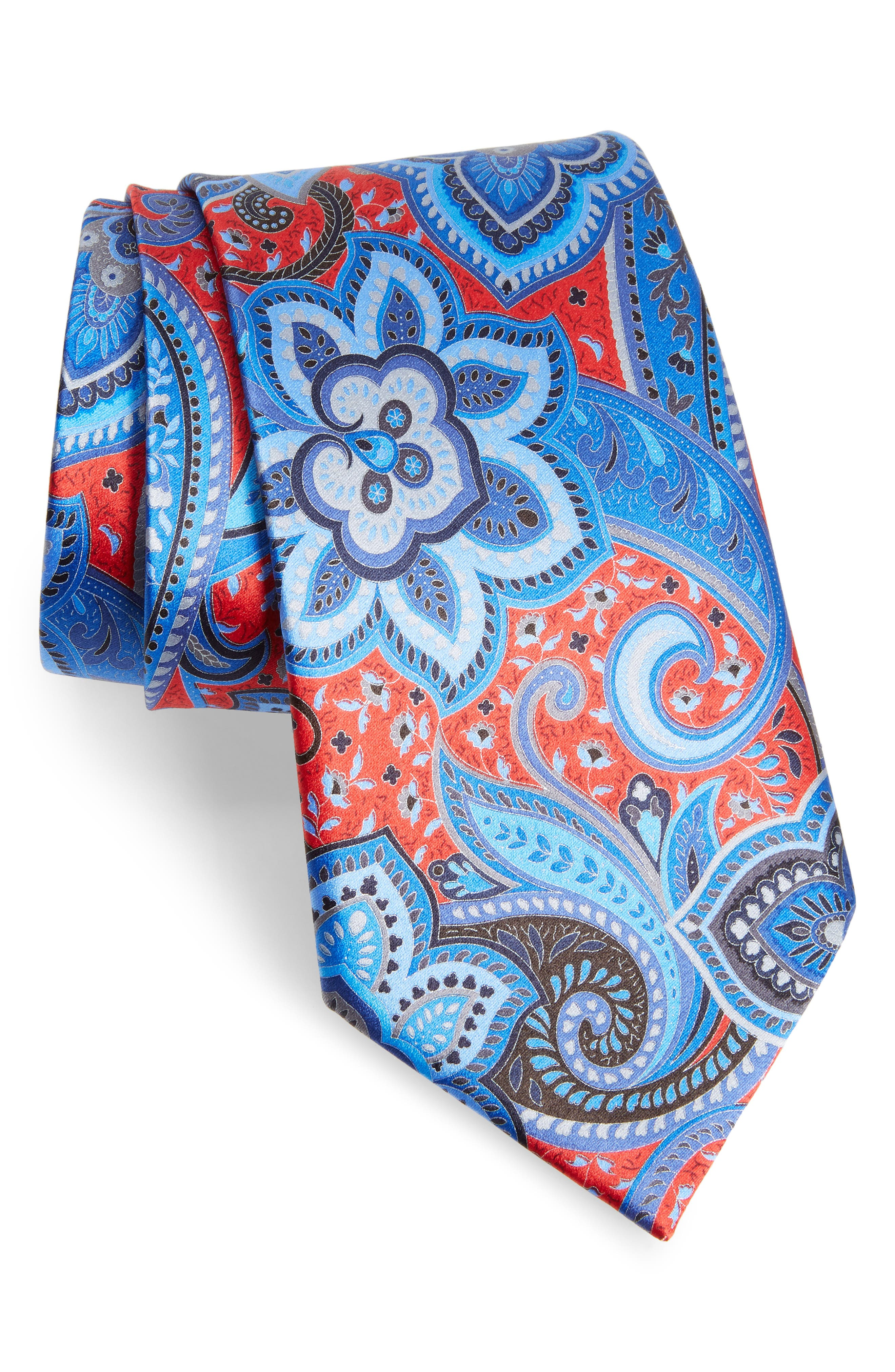 Quindici Floral Paisley Silk Tie,                         Main,                         color, Red