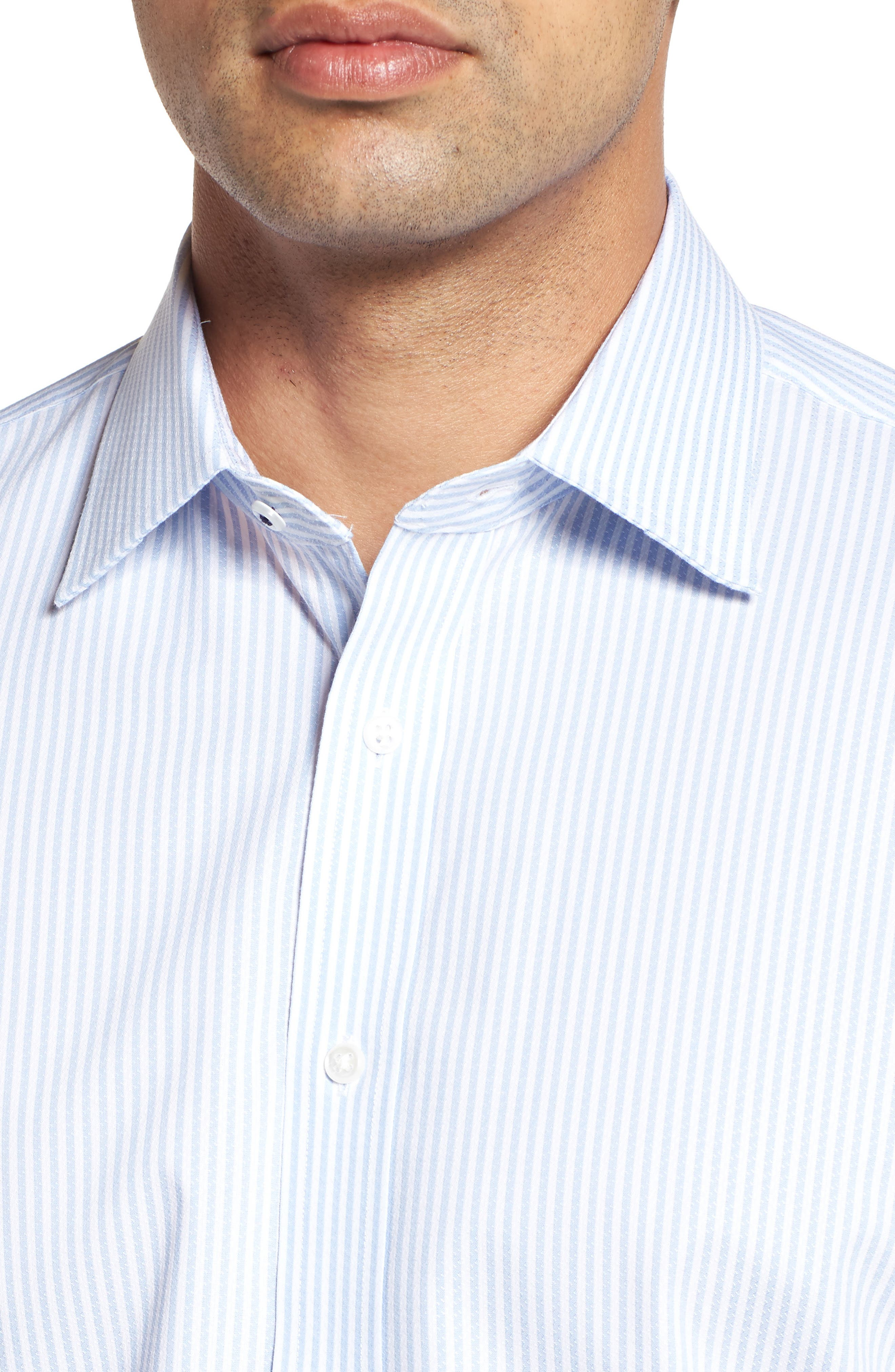 Tech-Smart Traditional Fit Stripe Stretch Dress Shirt,                             Alternate thumbnail 2, color,                             Blue Brunnera
