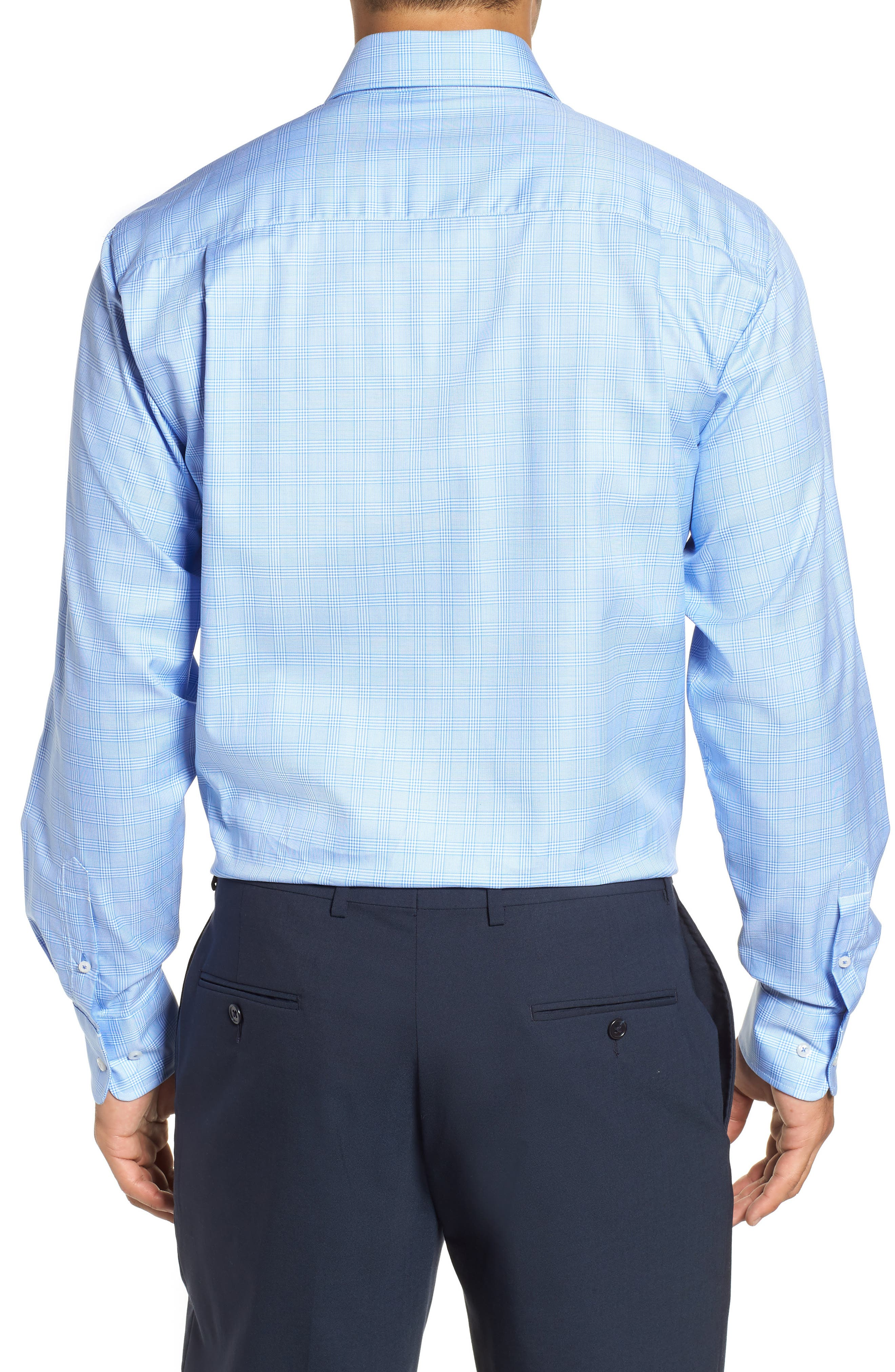 Regular Fit Plaid Dress Shirt,                             Alternate thumbnail 3, color,                             Blue