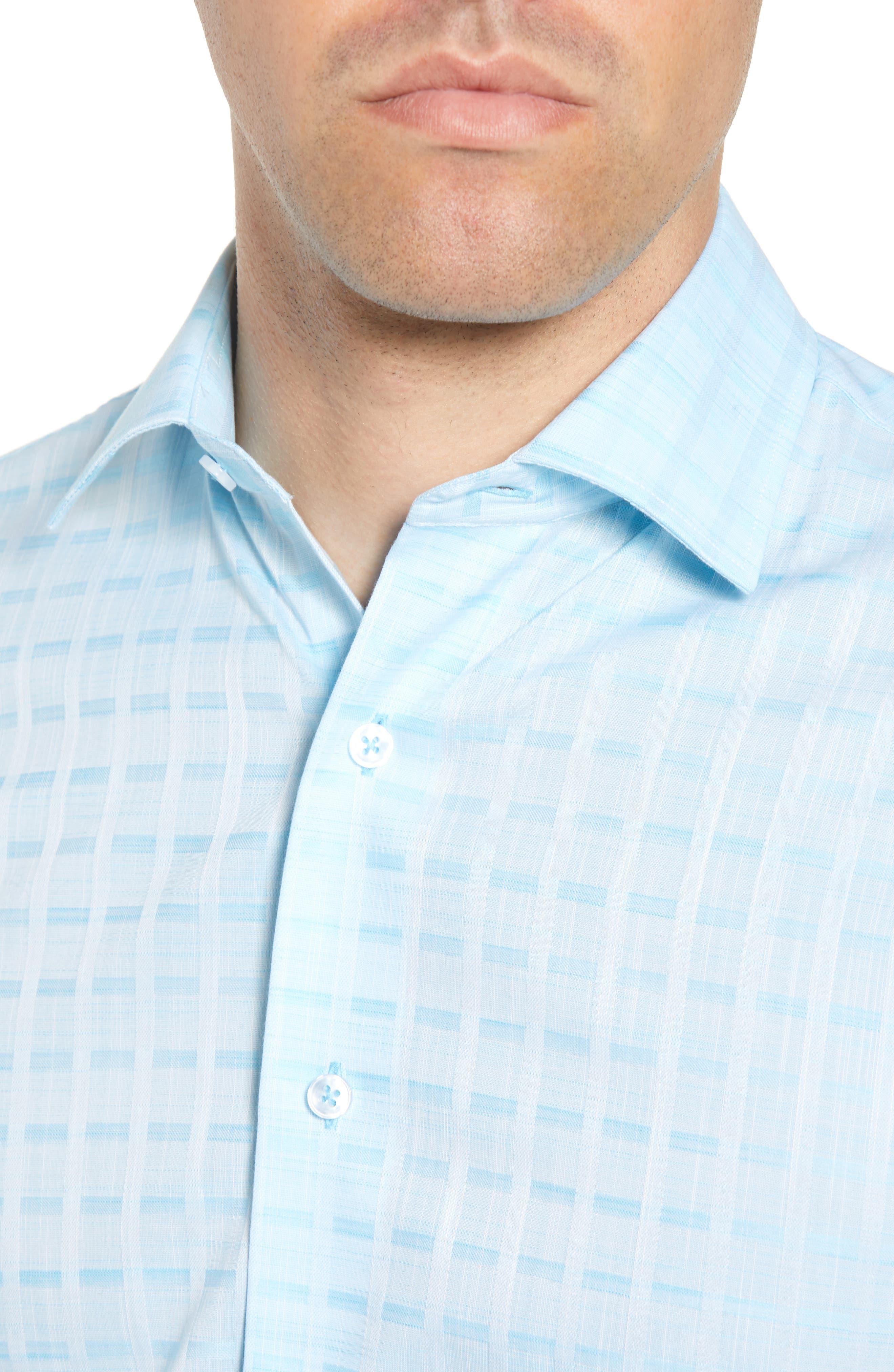 Trim Fit Check Dress Shirt,                             Alternate thumbnail 2, color,                             Aqua