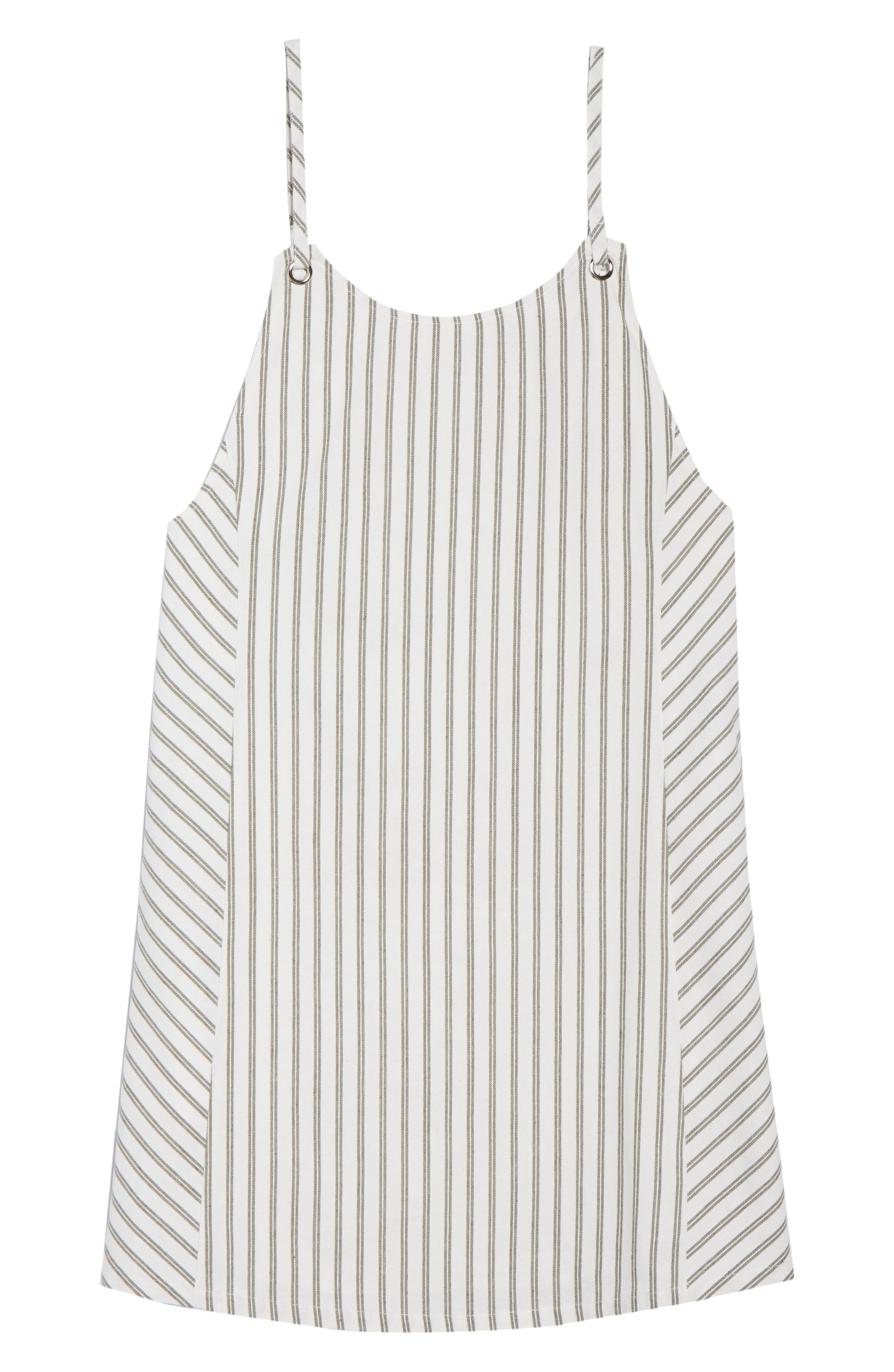 Striped Overall Dress,                             Alternate thumbnail 7, color,                             Sage