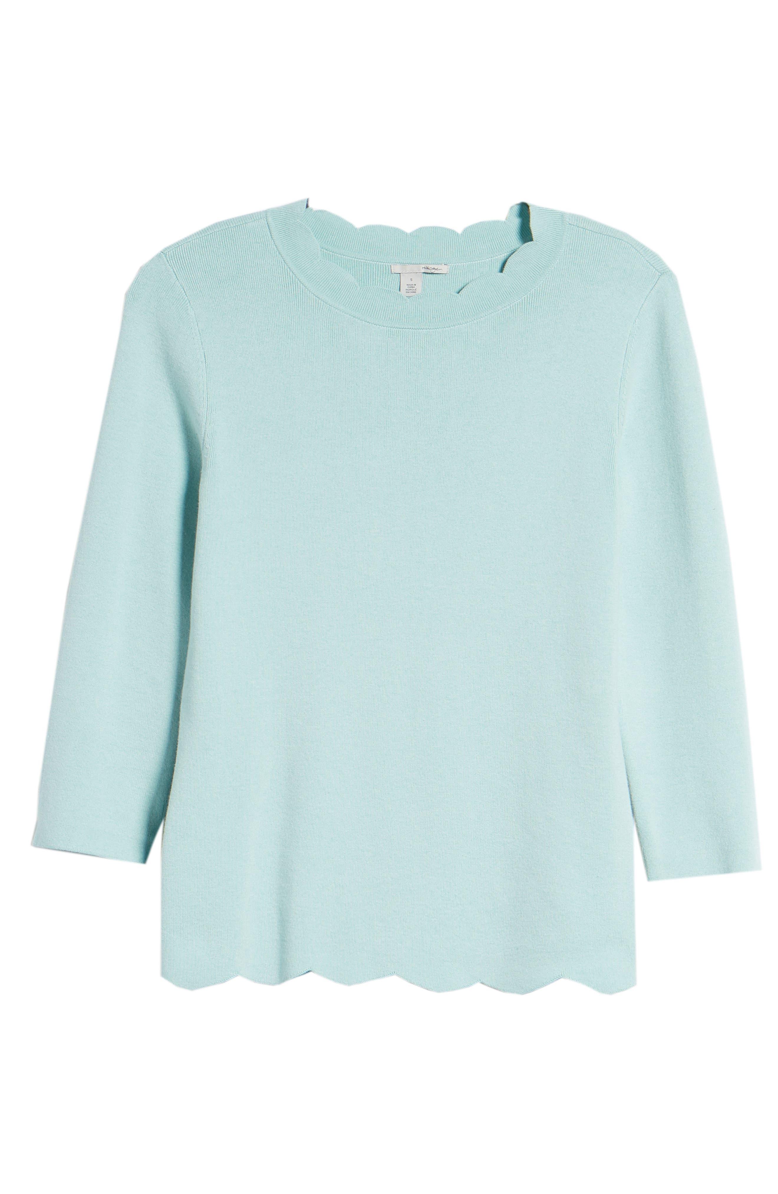 Halogen Scallop Edge Sweater,                             Alternate thumbnail 6, color,                             Blue Resort