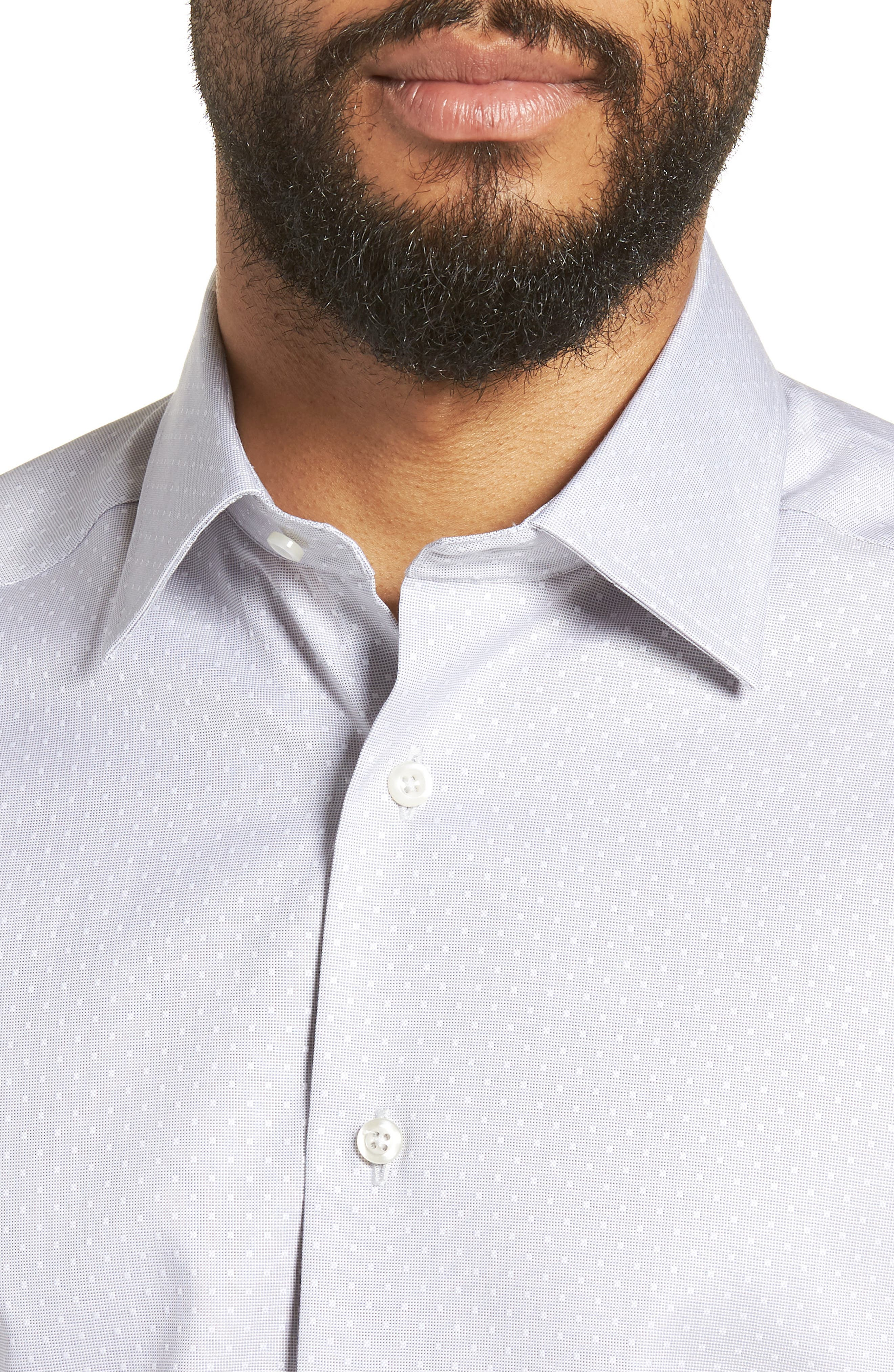 Slim Fit Dot Dress Shirt,                             Alternate thumbnail 2, color,                             Gray