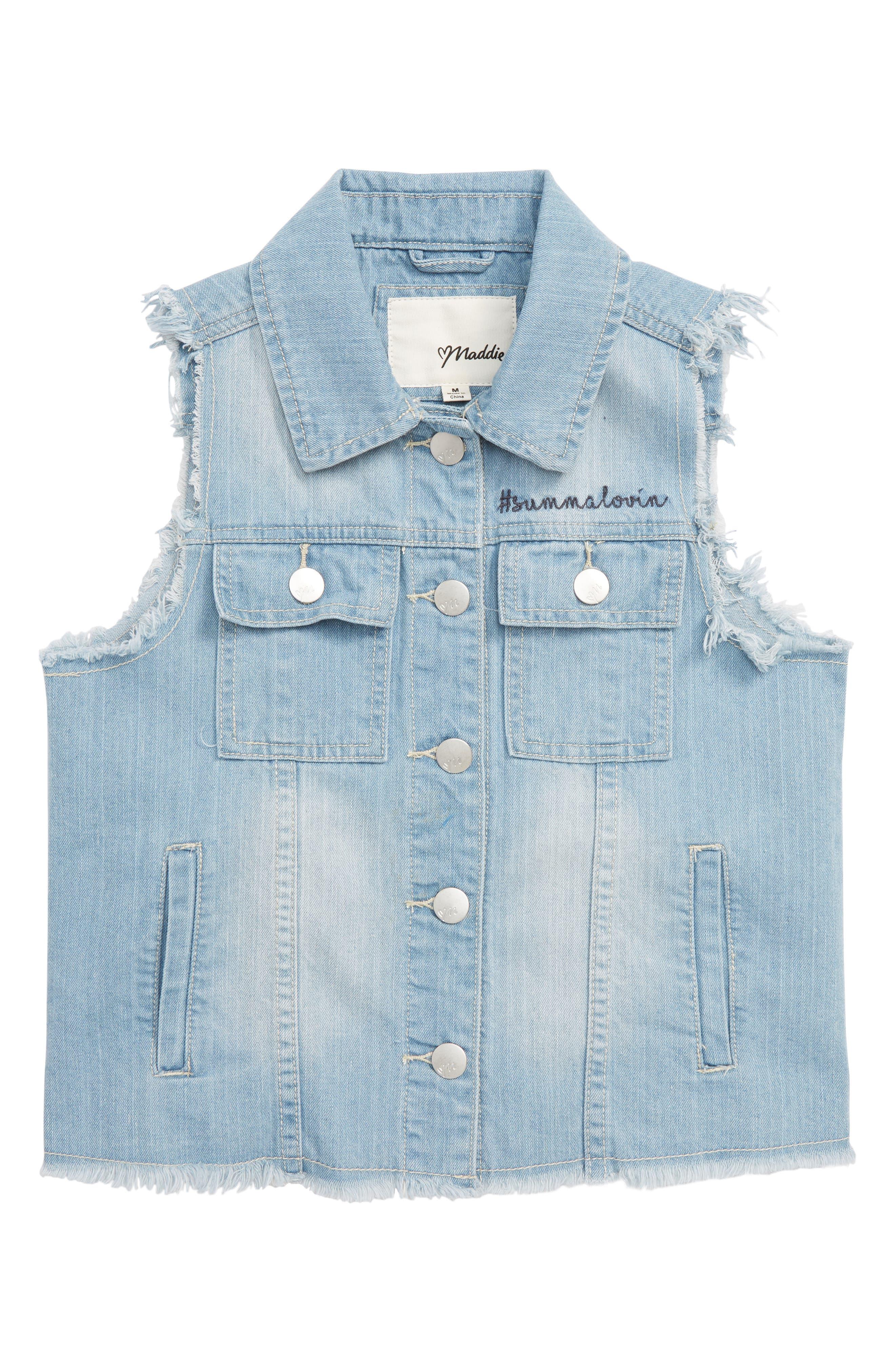 Maddie Americana Frayed Denim Vest (Big Girls)