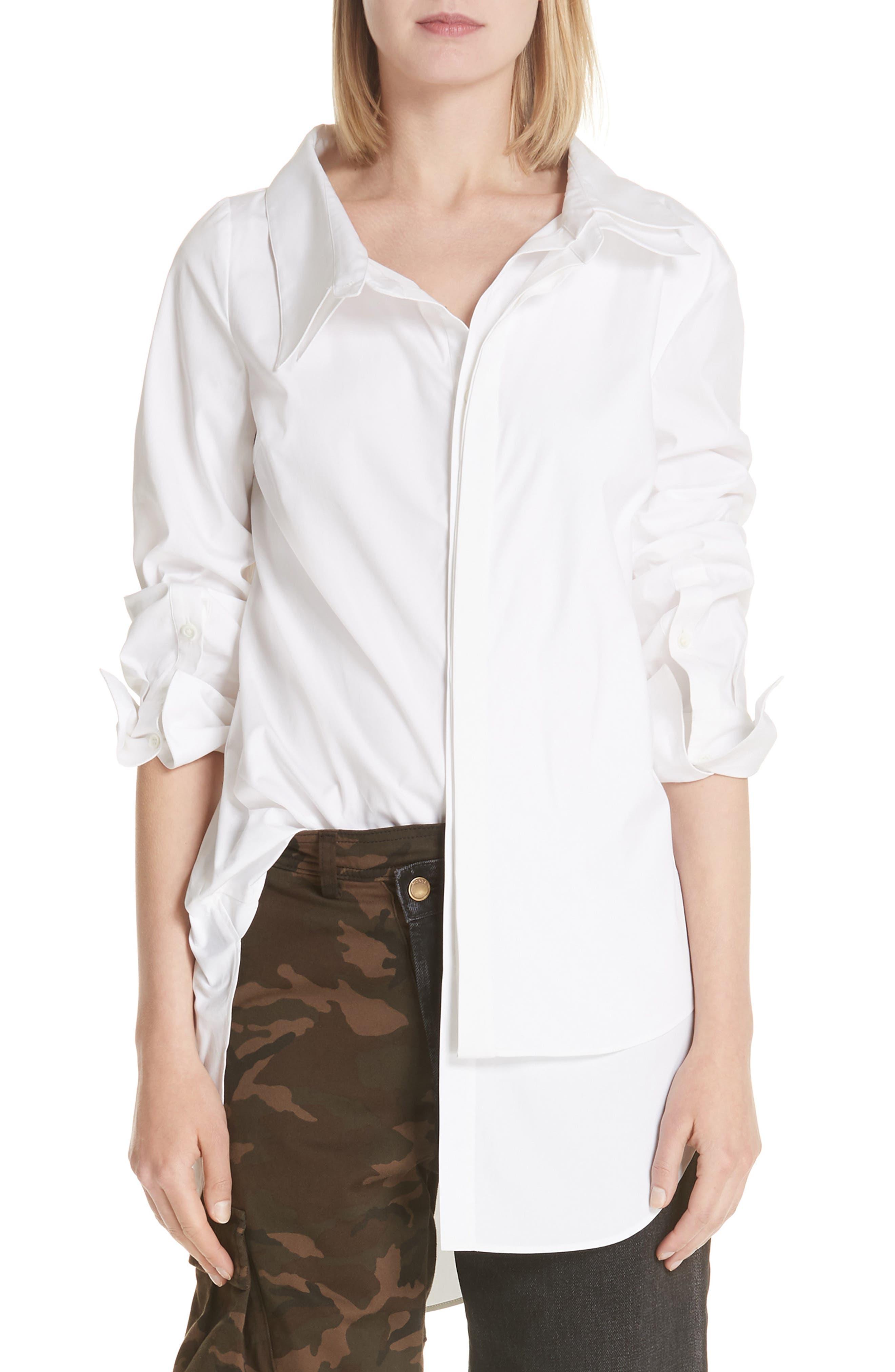 MONSE Layered Stretch Poplin Shirt