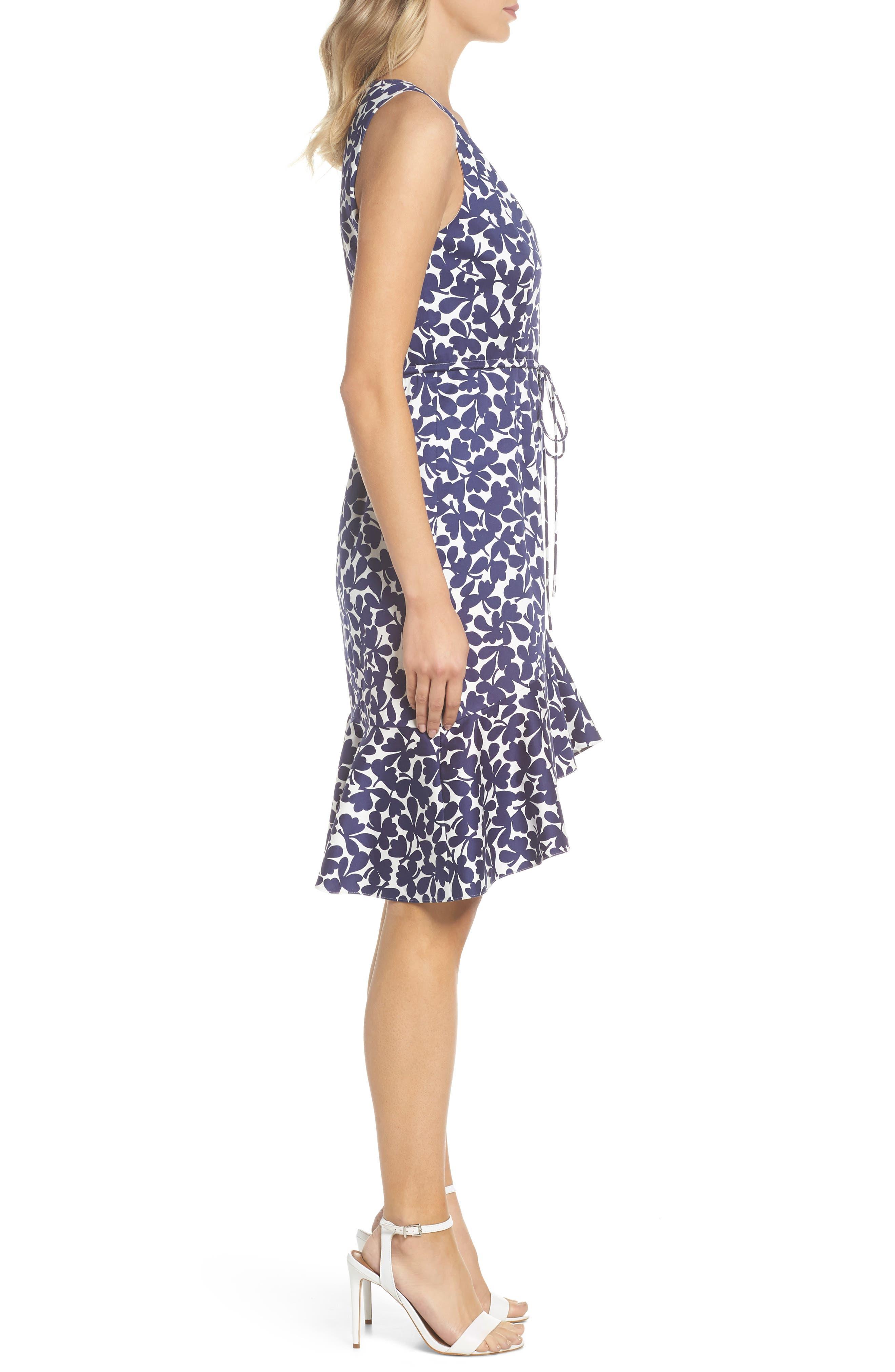 Lady Luck Print Cotton Sateen Dress,                             Alternate thumbnail 3, color,                             Navy/ Ivory