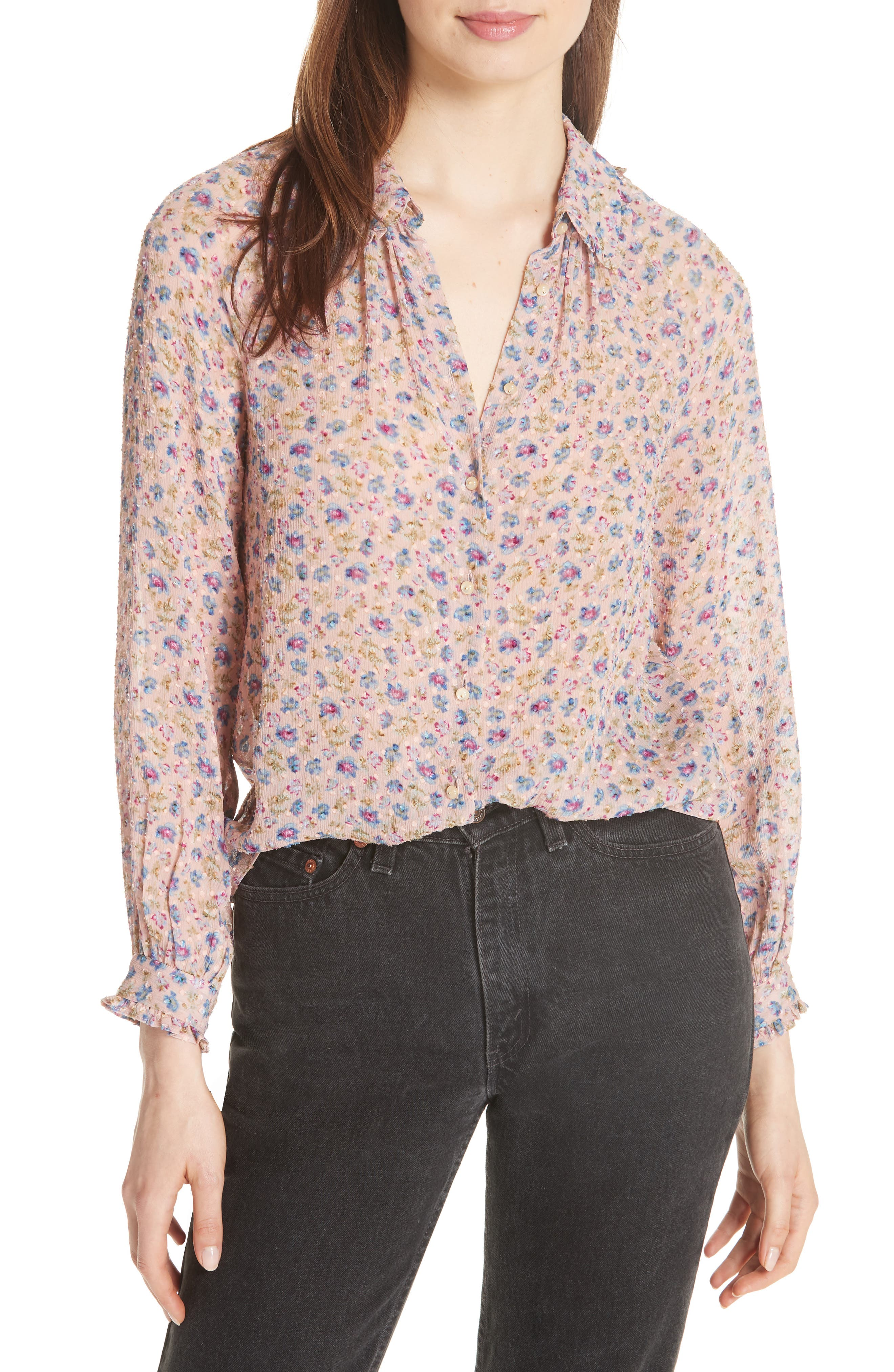 Zelma Floral Top,                             Main thumbnail 1, color,                             Nude Combo