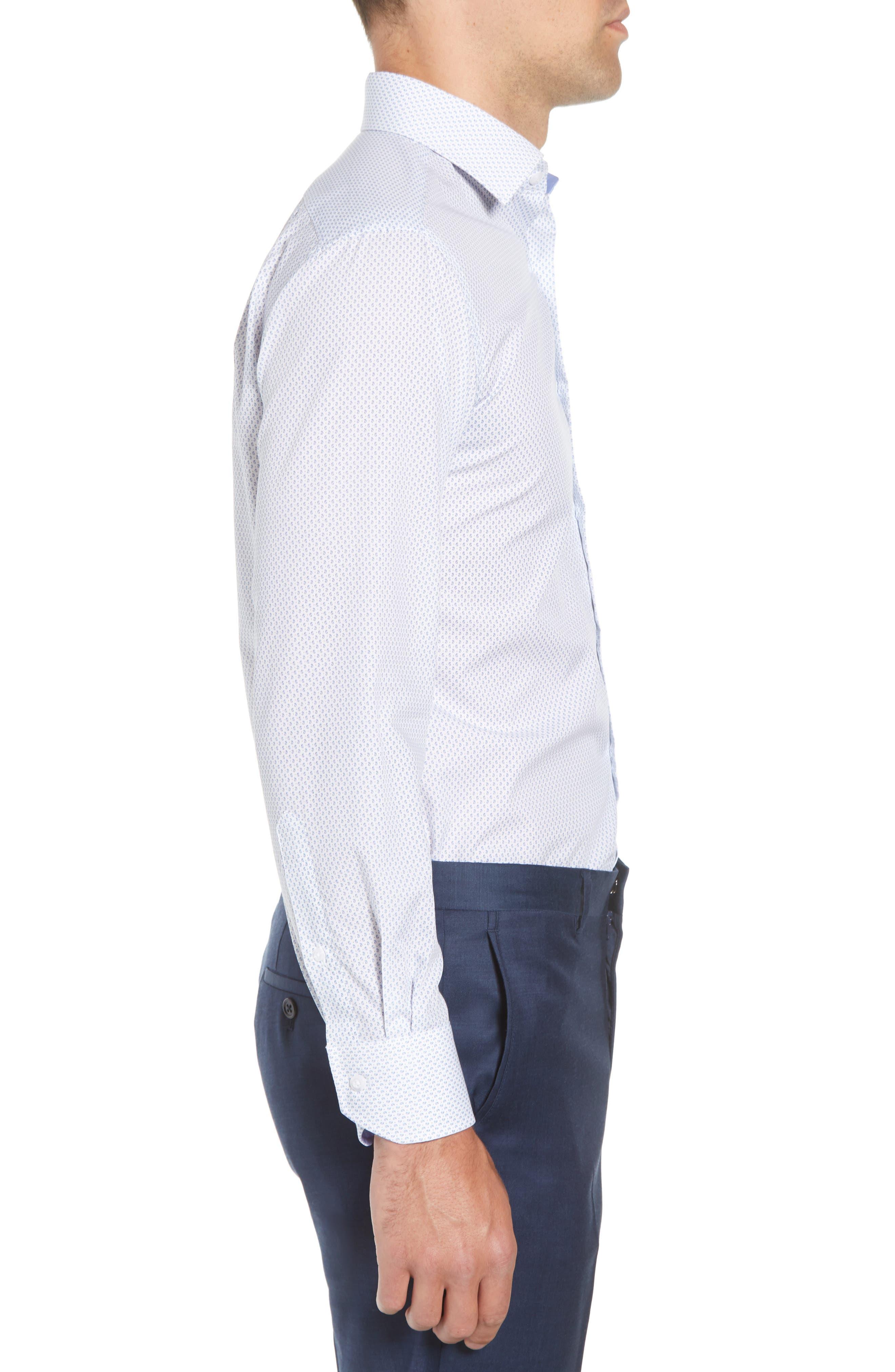 Trim Fit Paisley Dress Shirt,                             Alternate thumbnail 4, color,                             White/ Blue