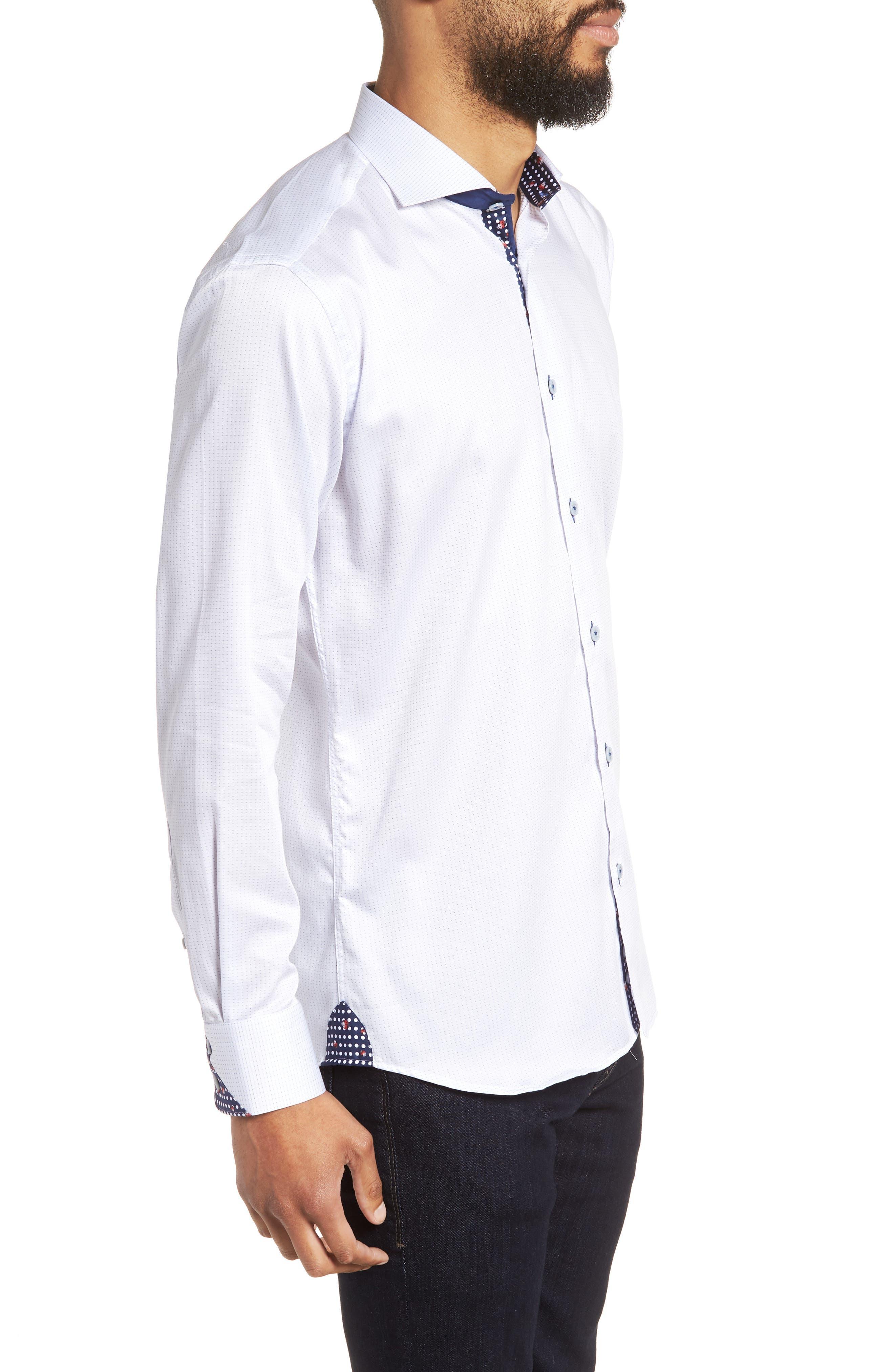 Wall Street Chelsey Dobby Sport Shirt,                             Alternate thumbnail 4, color,                             White