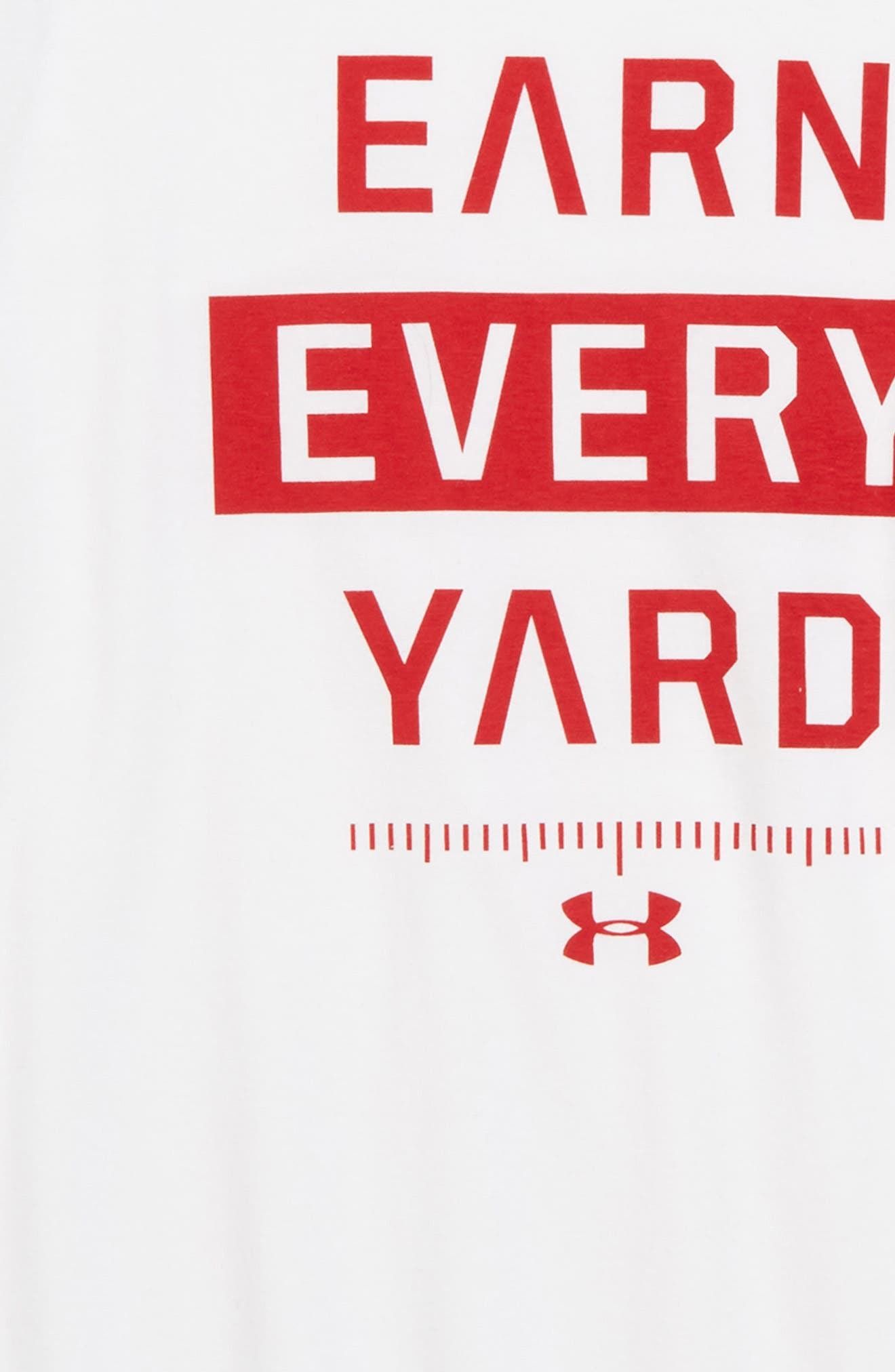 Earn Every Yard HeatGear<sup>®</sup> Graphic T-Shirt,                             Alternate thumbnail 2, color,                             White/ Red