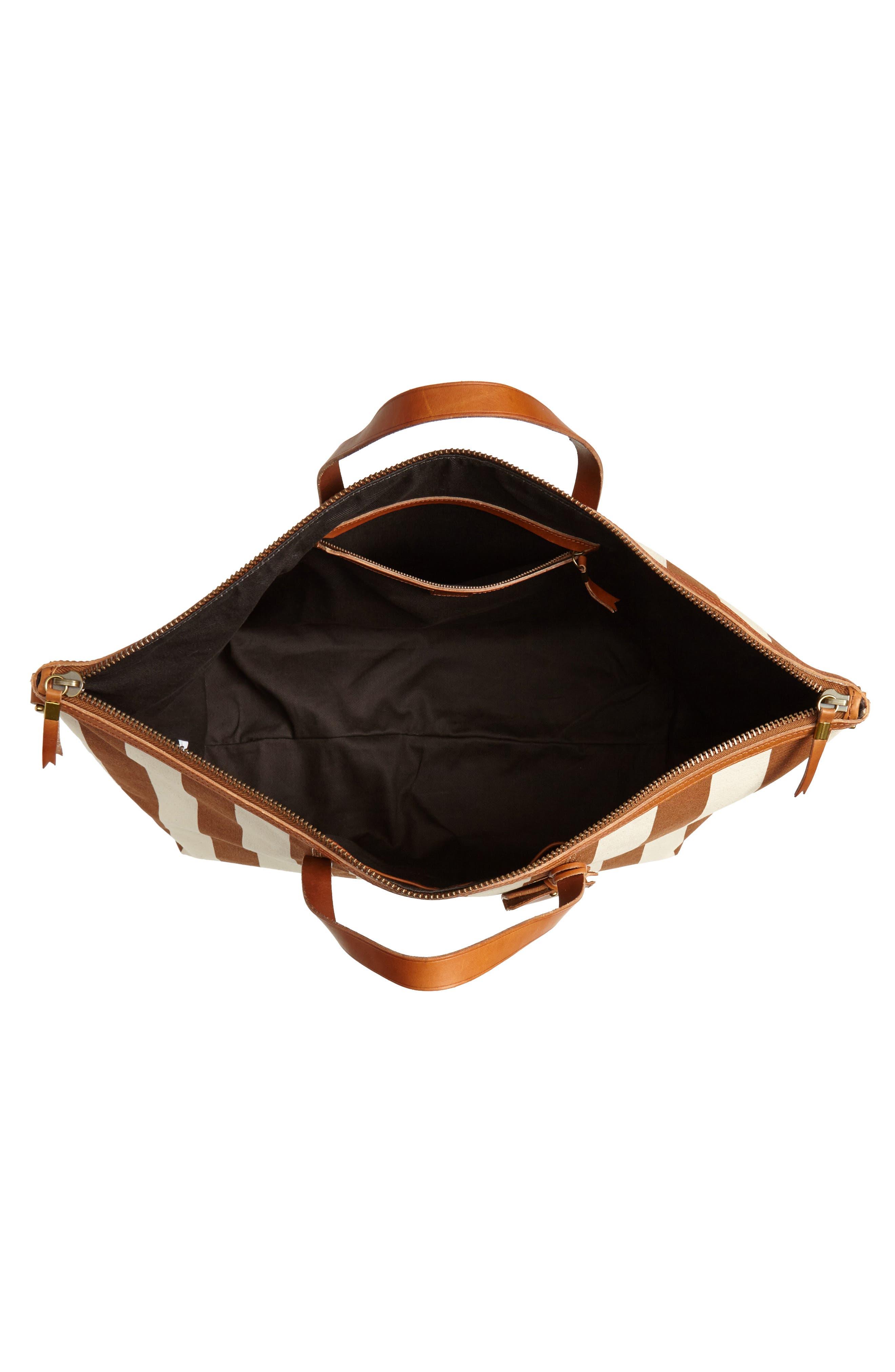 Transport Canvas Weekend Bag,                             Alternate thumbnail 4, color,                             Burnt Orange Stripe