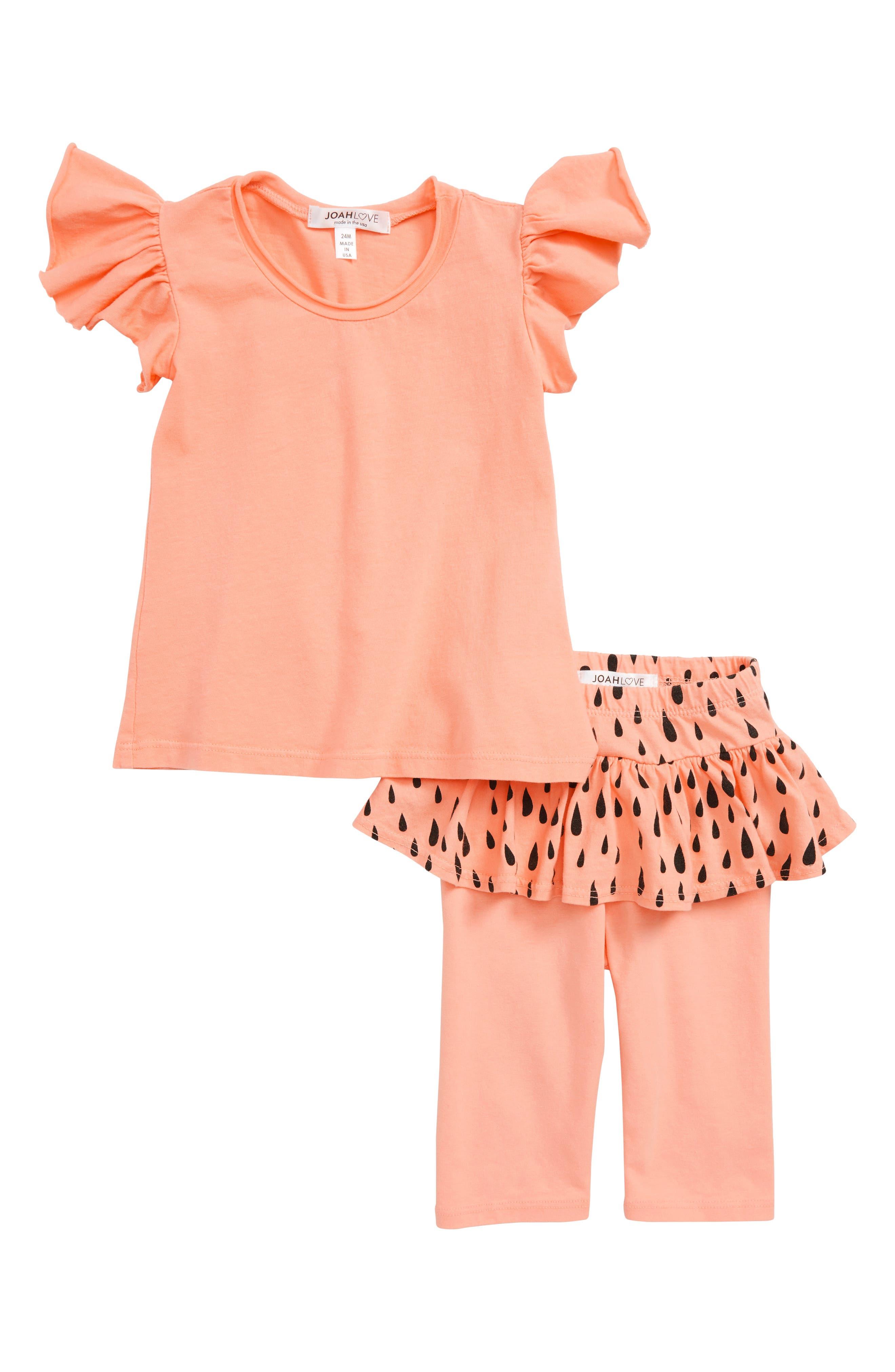 Flutter Sleeve Tee & Skirted Leggings Set,                         Main,                         color, Lipgloss