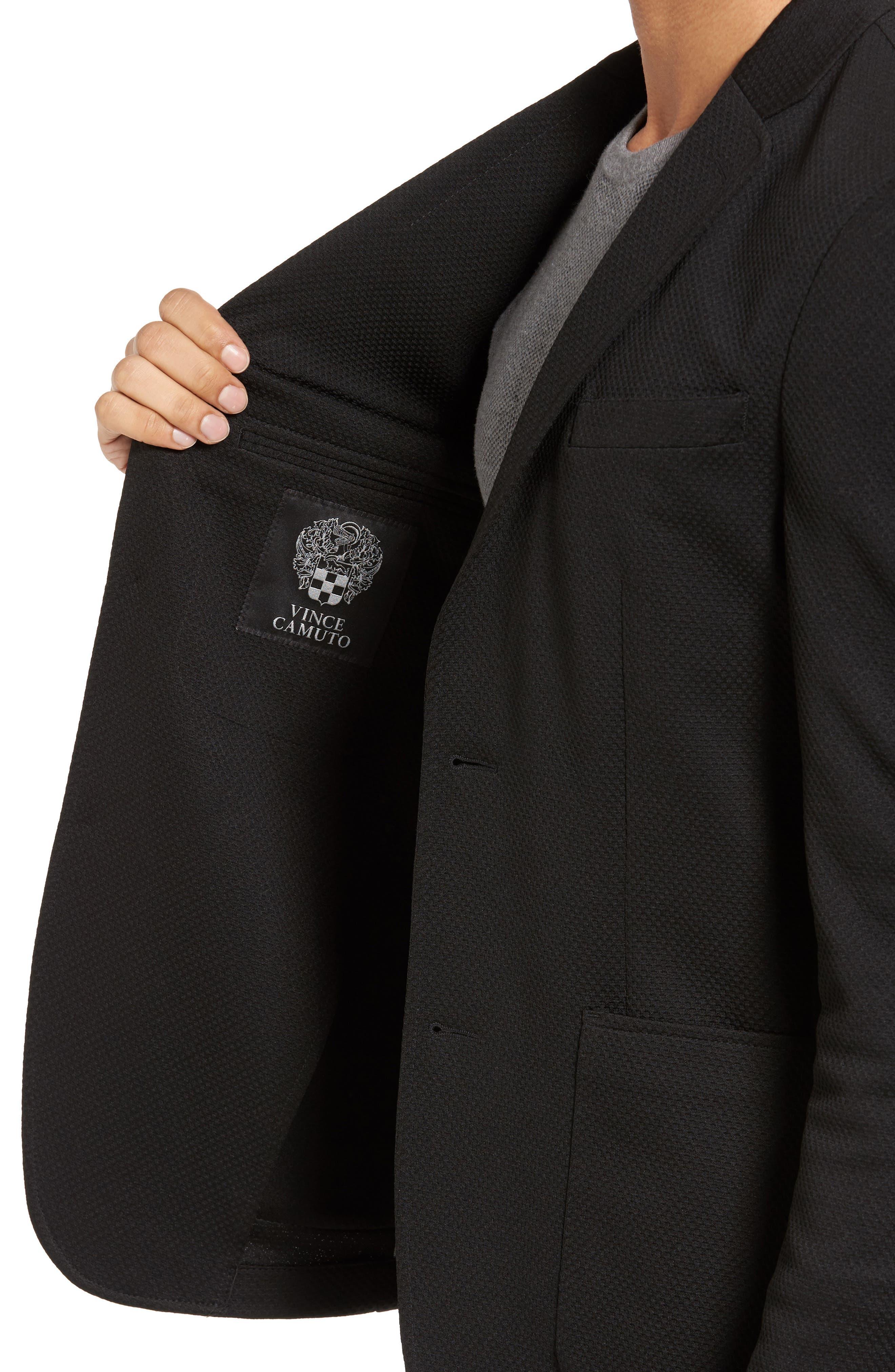 Slim Fit Stretch Knit Blazer,                             Alternate thumbnail 4, color,                             Black