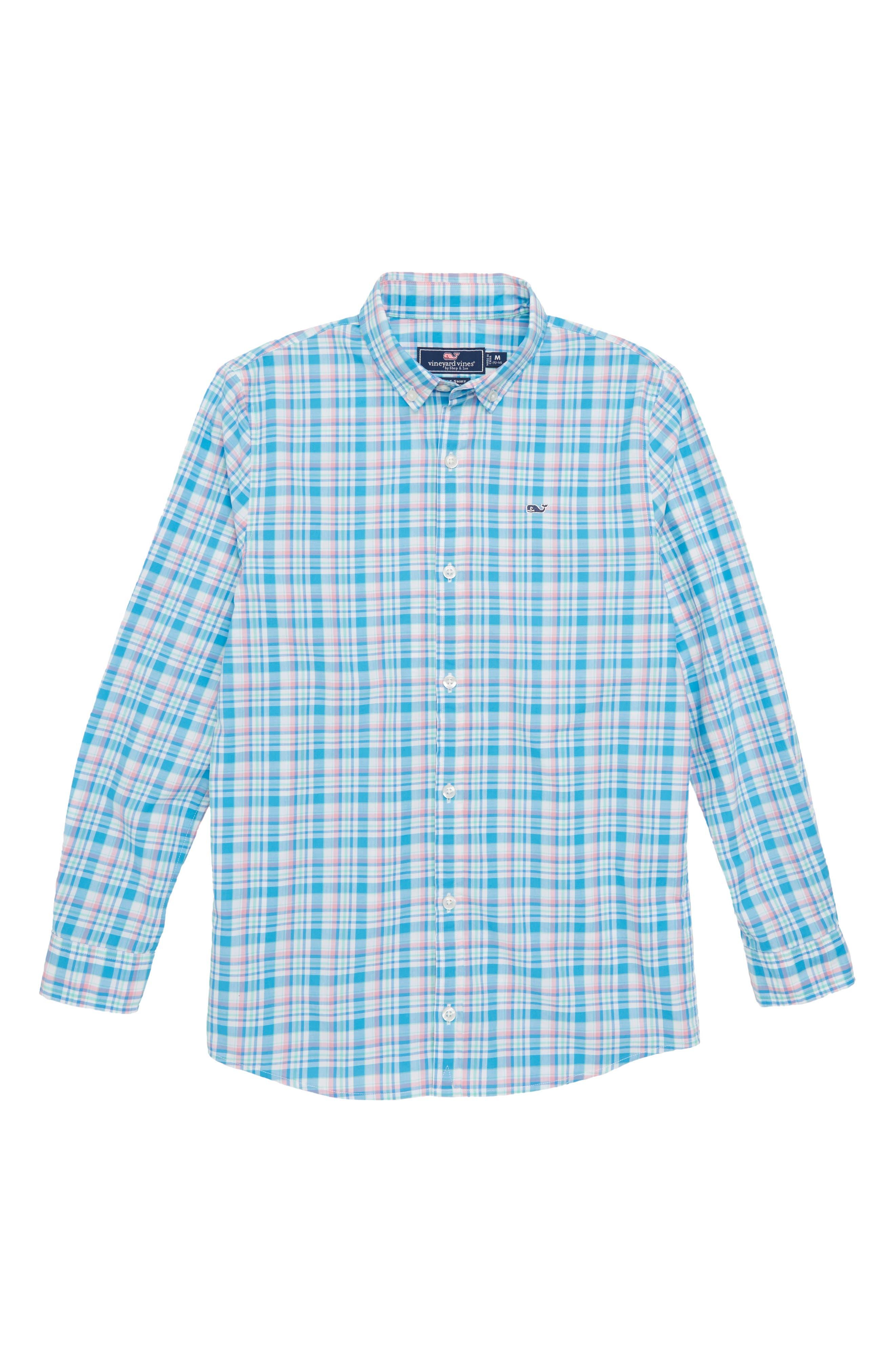 Pimnys Point Plaid Whale Shirt,                             Main thumbnail 1, color,                             Keel Blue