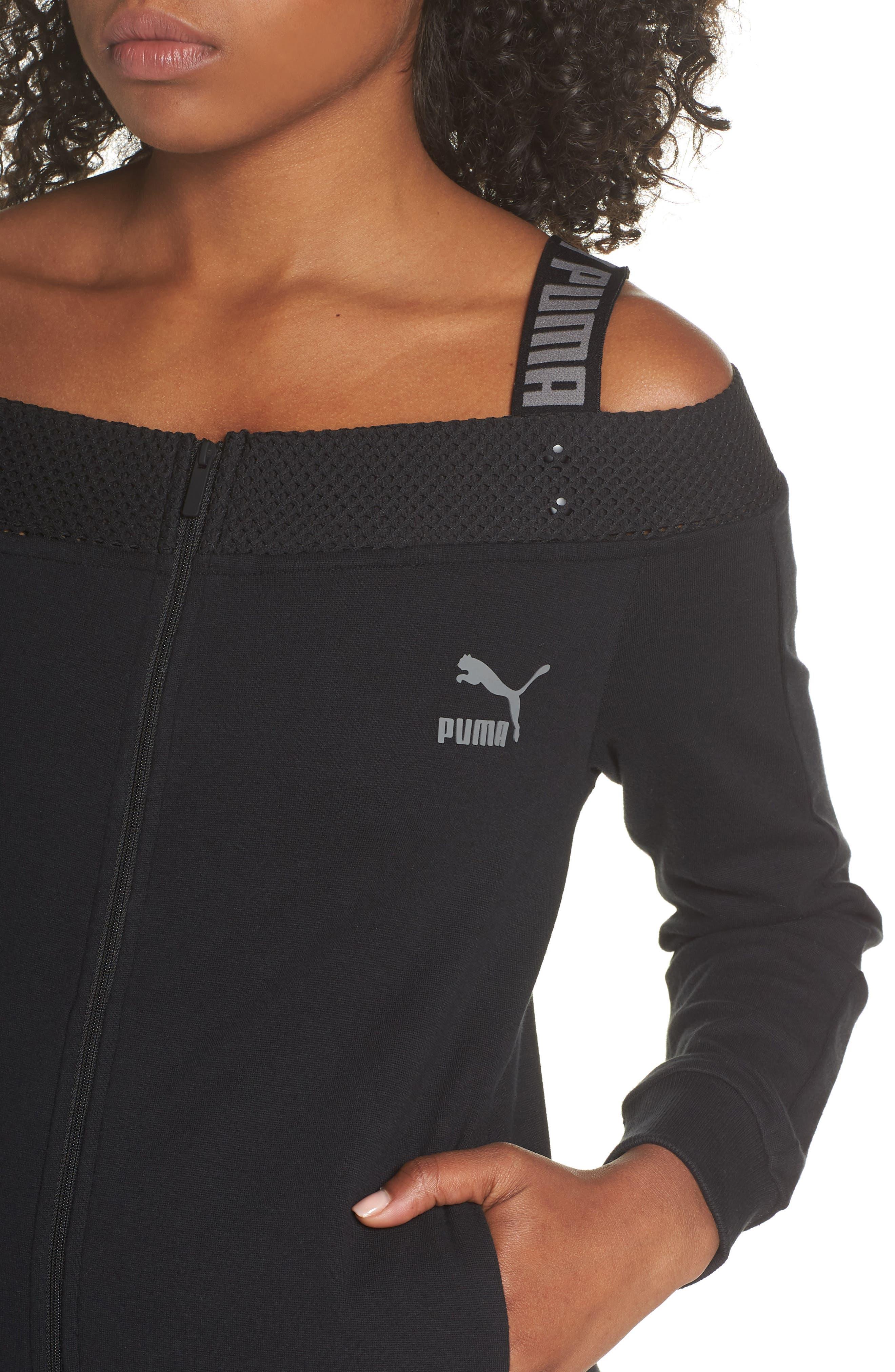 T7 Cold Shoulder Jacket,                             Alternate thumbnail 4, color,                             Puma Black