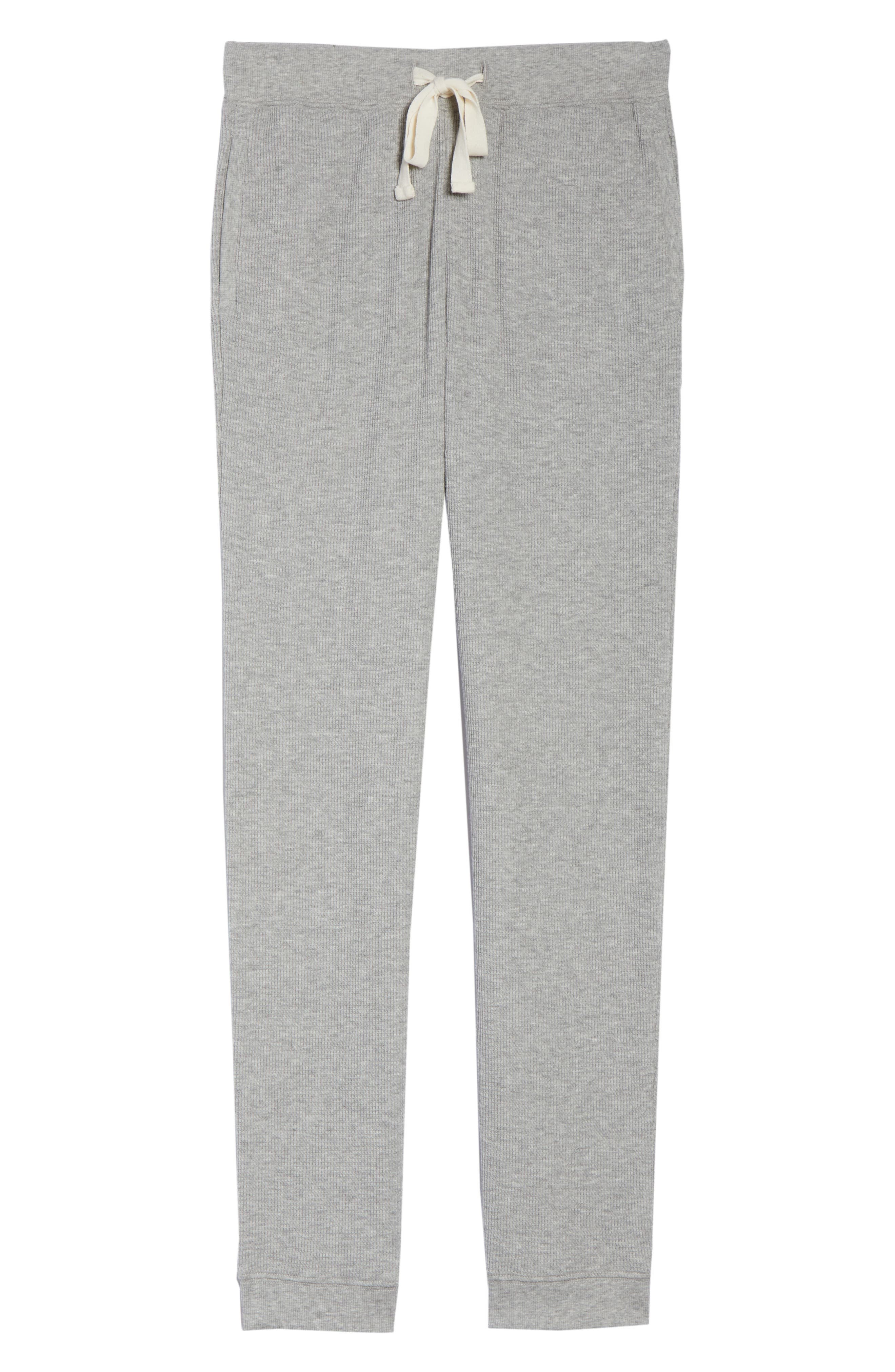 Edie Waffle Knit Lounge Pants,                             Alternate thumbnail 7, color,                             Heather Grey