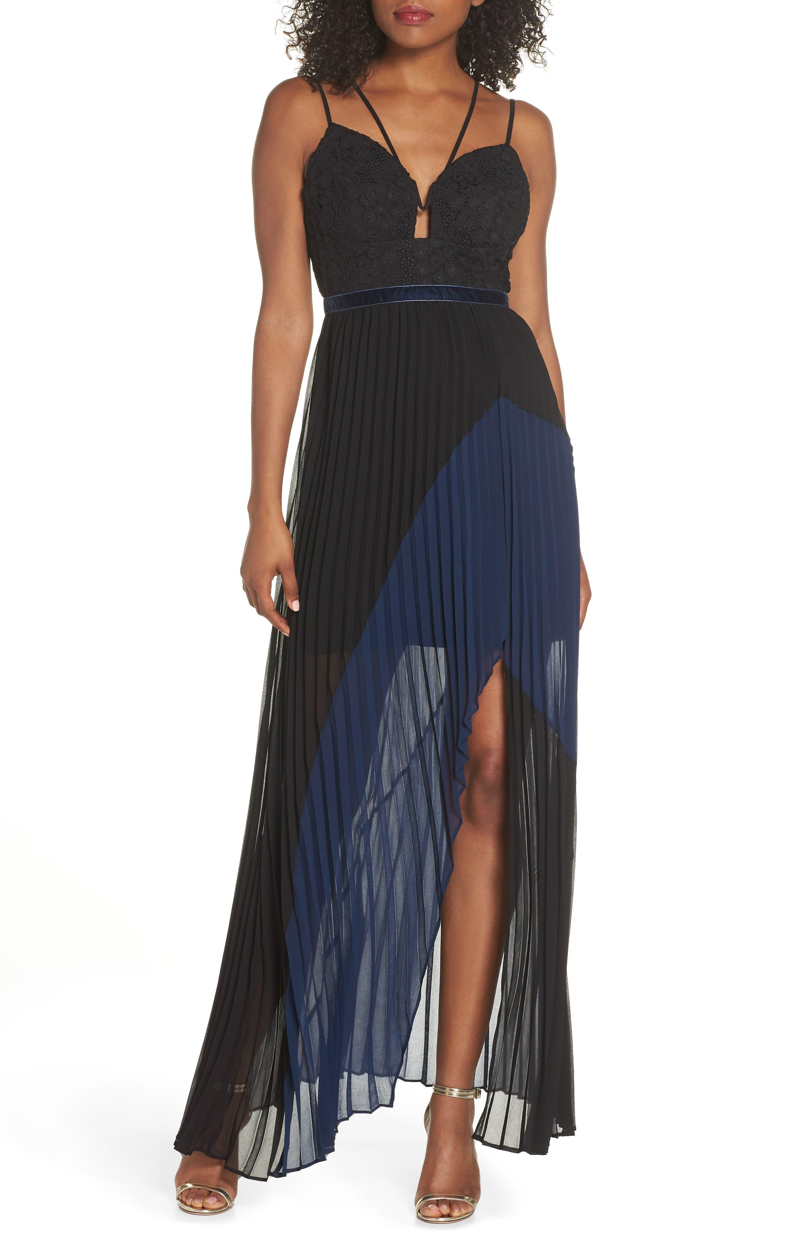 Nealea Pleat Chiffon Gown,                             Main thumbnail 1, color,                             Black/ Navy