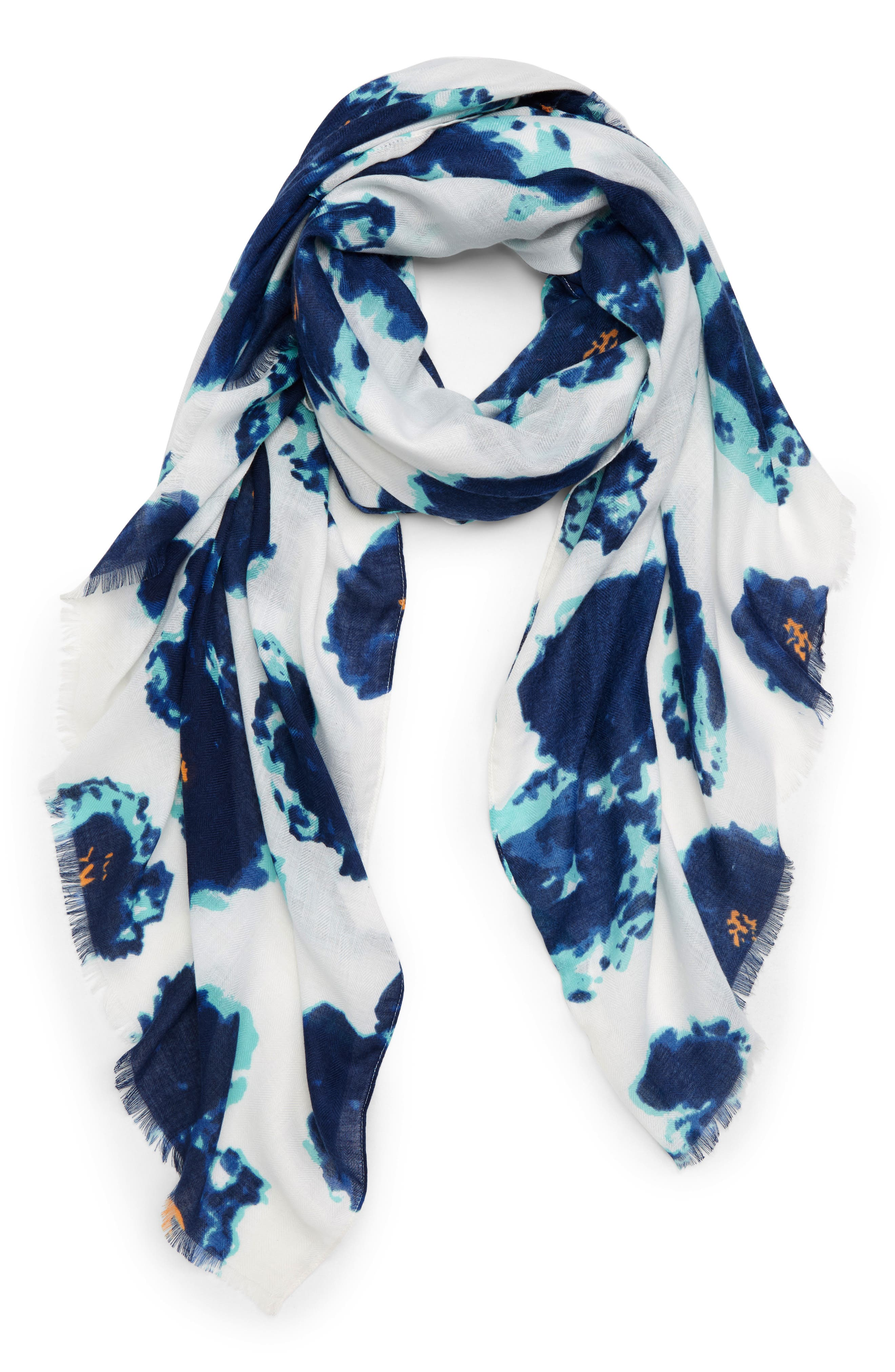 Watercolor Floral Scarf,                         Main,                         color, Blue Multi