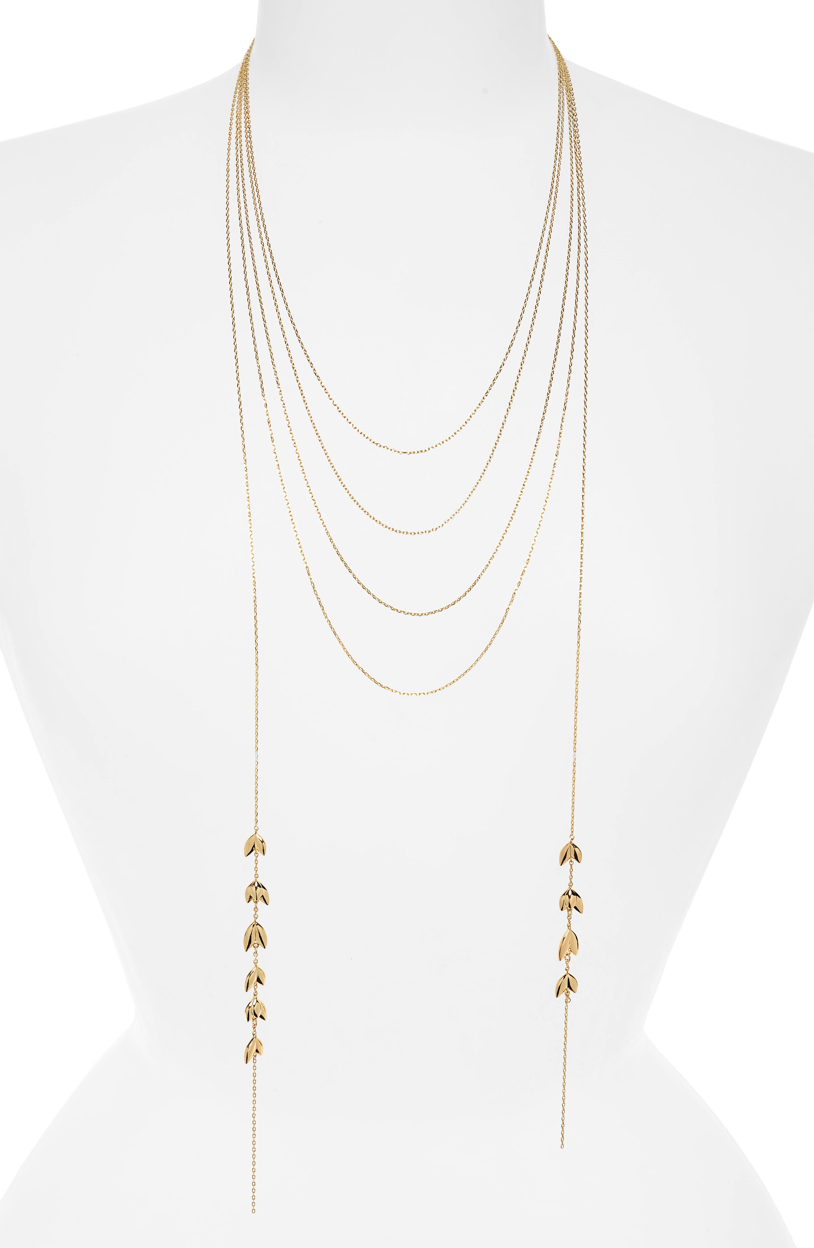 Layered Lariat Necklace,                             Main thumbnail 1, color,                             Gold