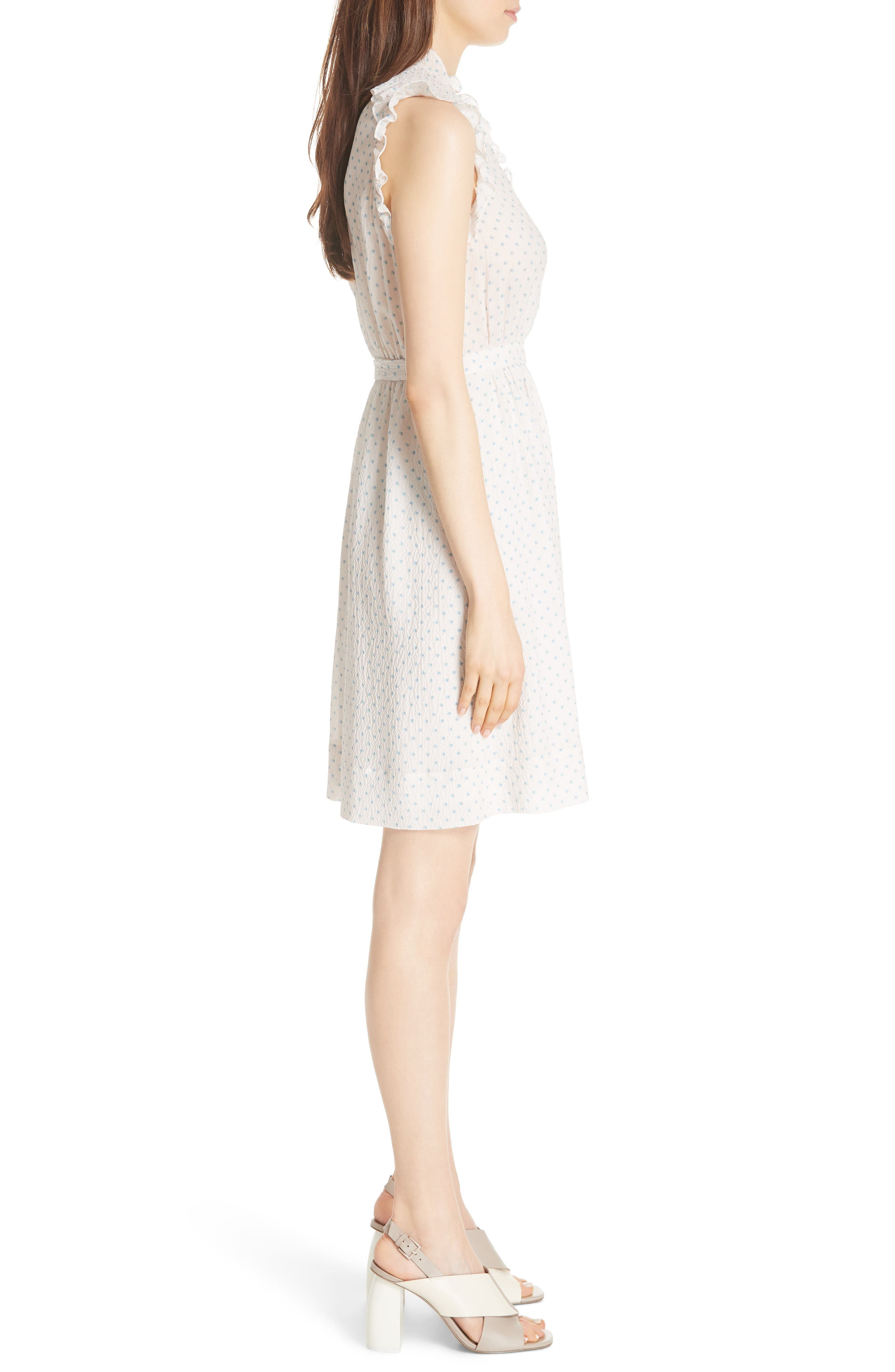 Dot Ruffle Faux Wrap Dress,                             Alternate thumbnail 5, color,                             Vanilla Combo