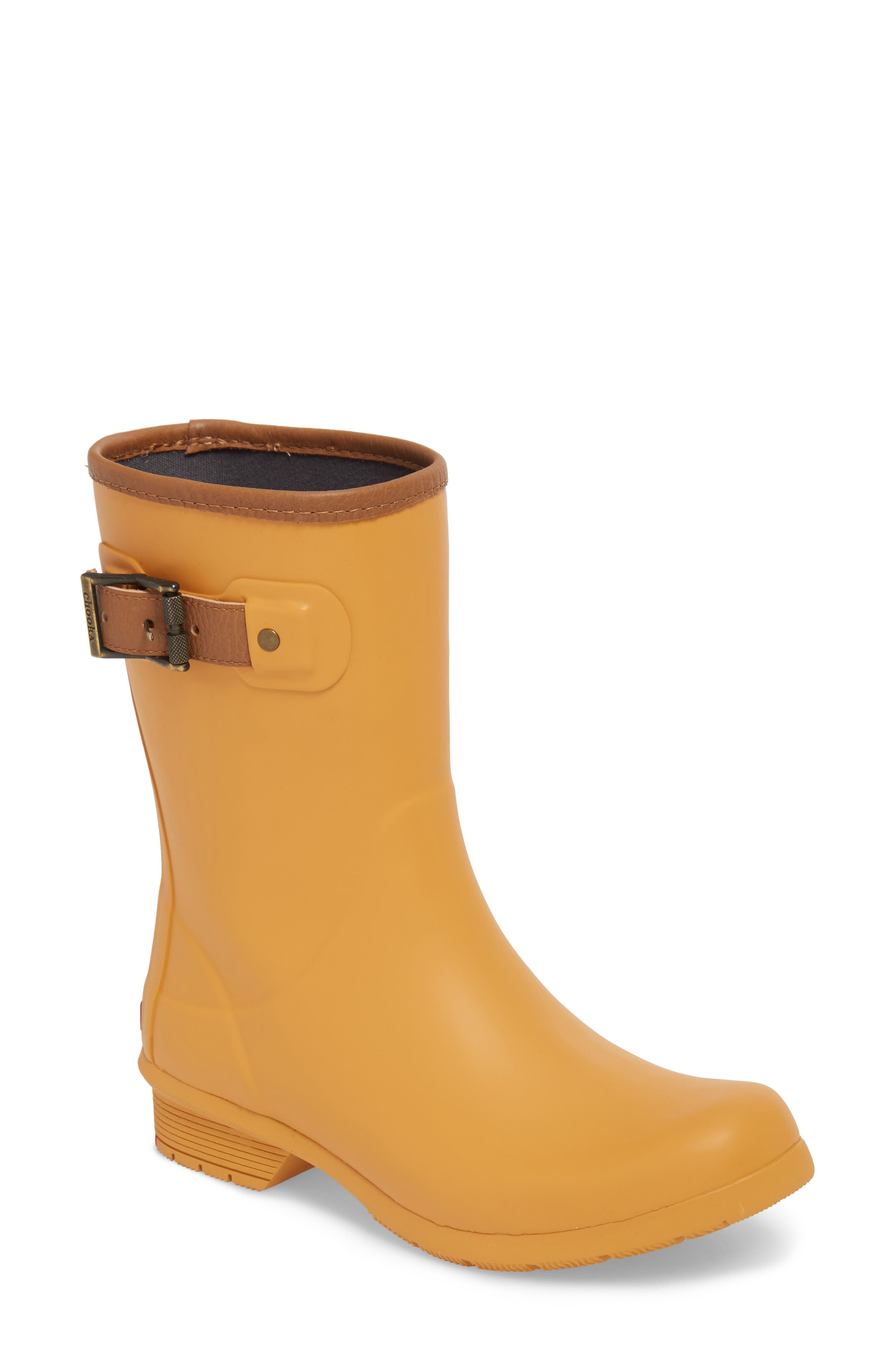 City Solid Mid Height Rain Boot,                             Main thumbnail 1, color,                             Saffron
