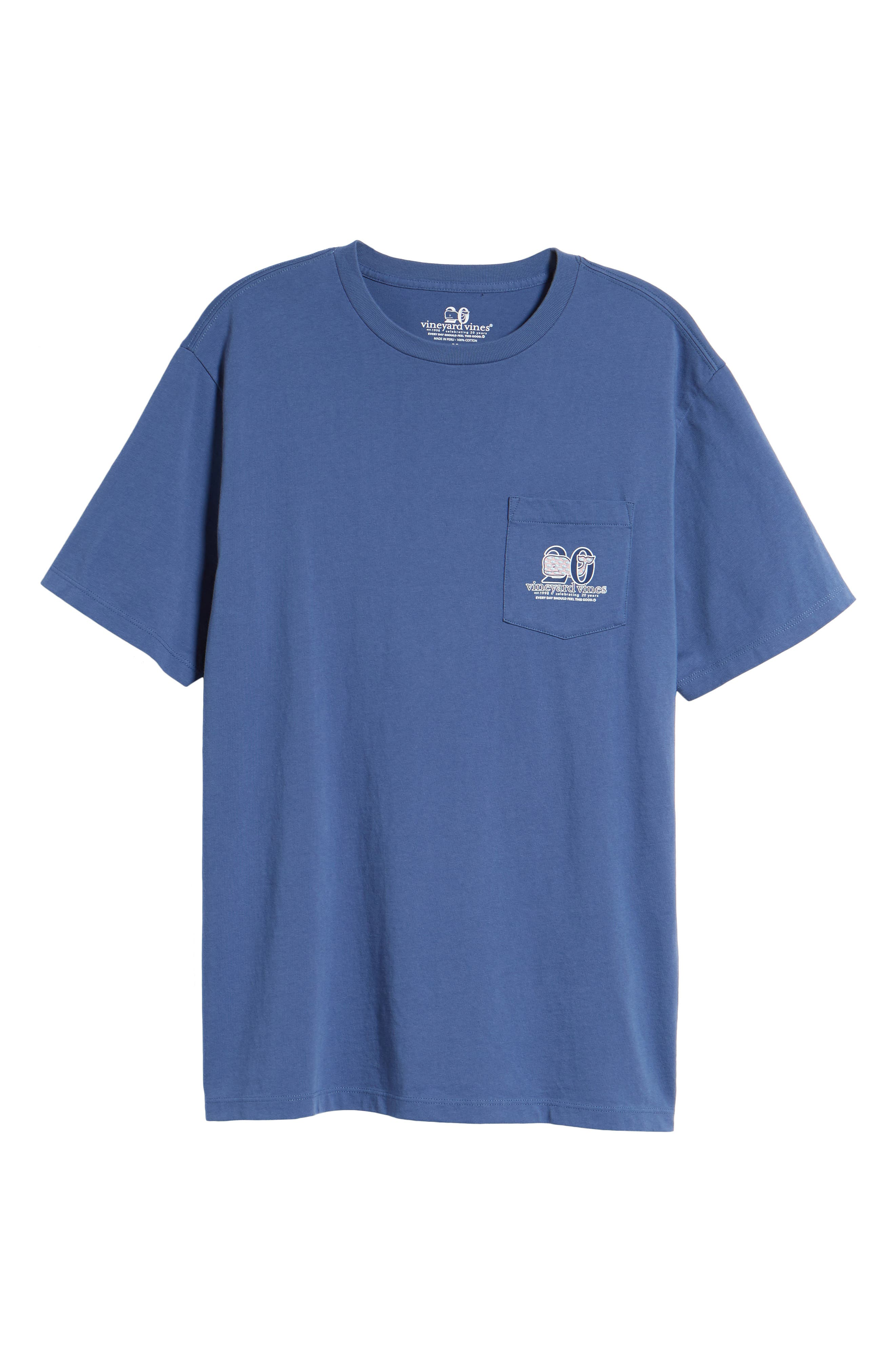 Patchwork Whale Pocket T-Shirt,                             Alternate thumbnail 6, color,                             Moonshine