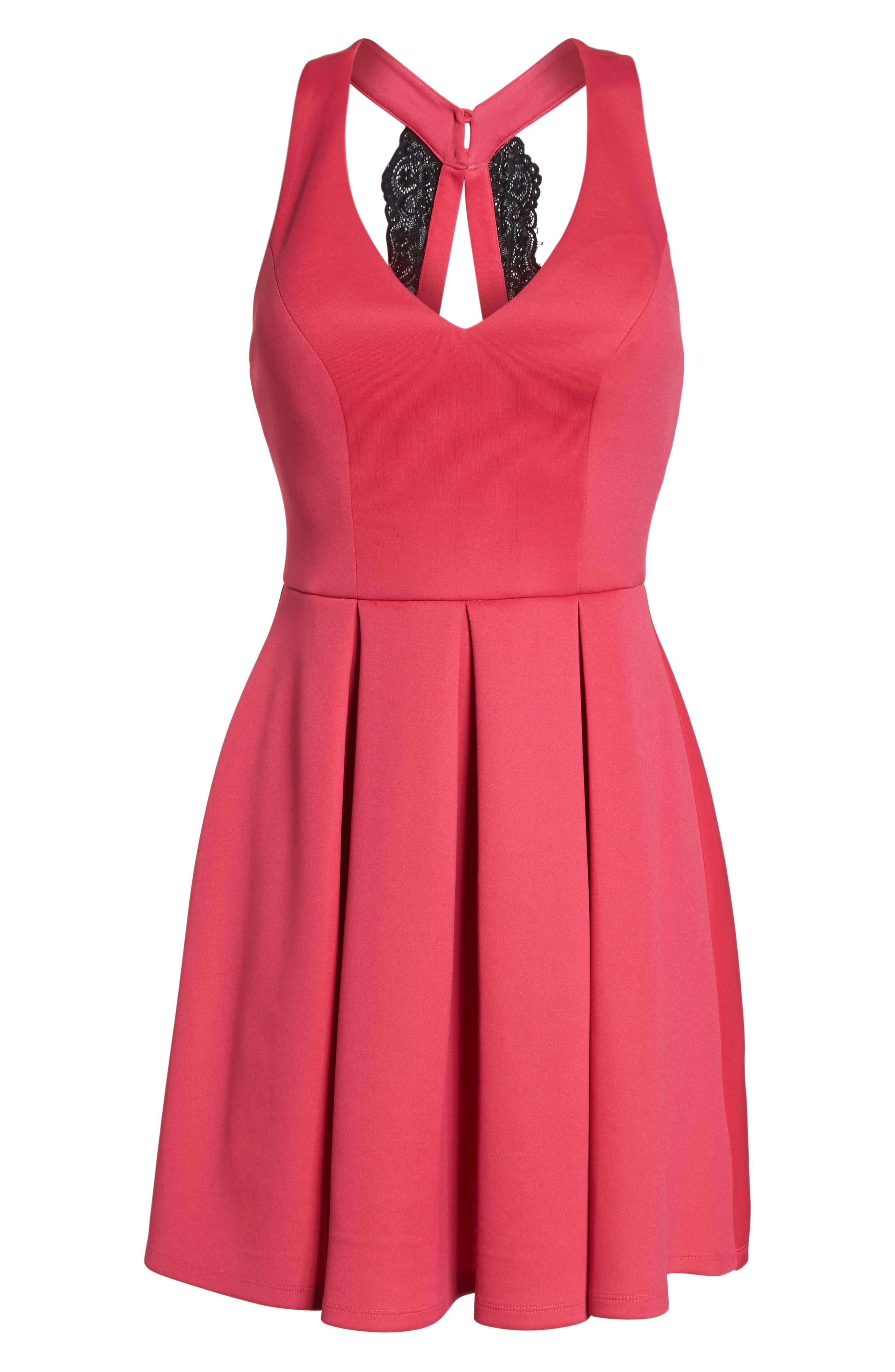 Lace Back Scuba Dress,                             Alternate thumbnail 6, color,                             Hot Pink/ Black