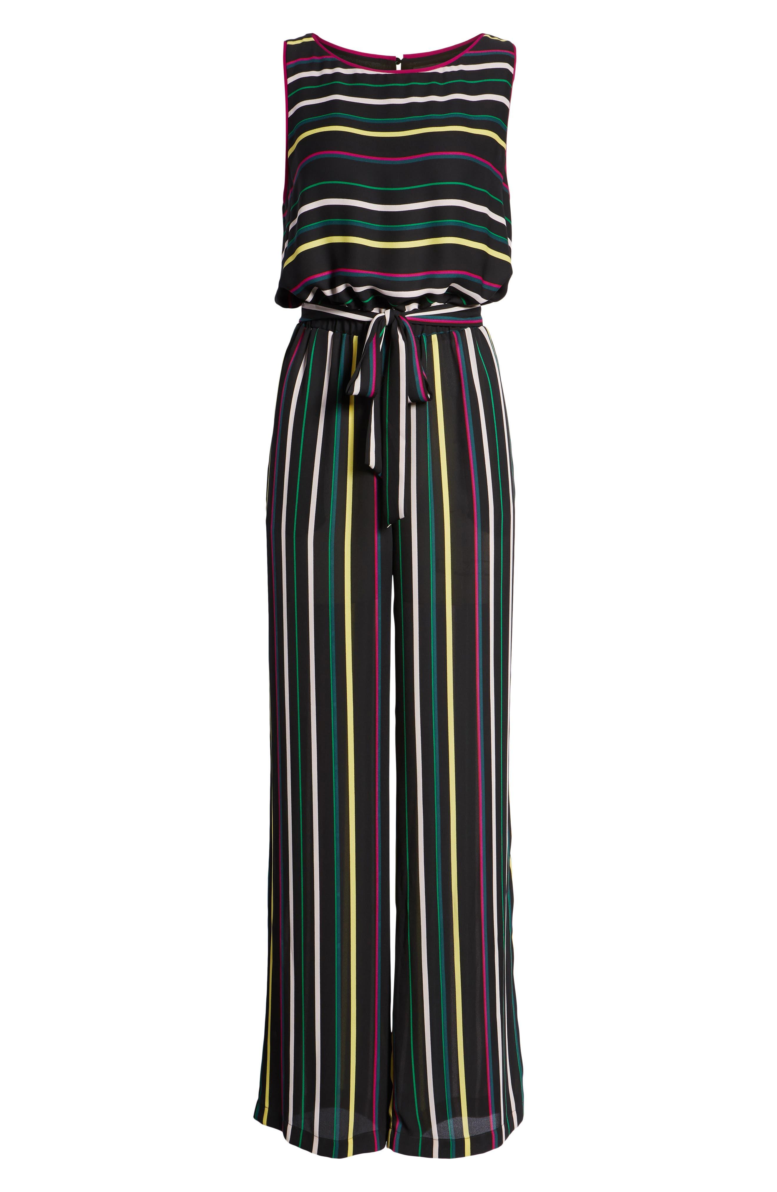 Paradise Stripe Jumpsuit,                             Alternate thumbnail 6, color,                             Rich Black